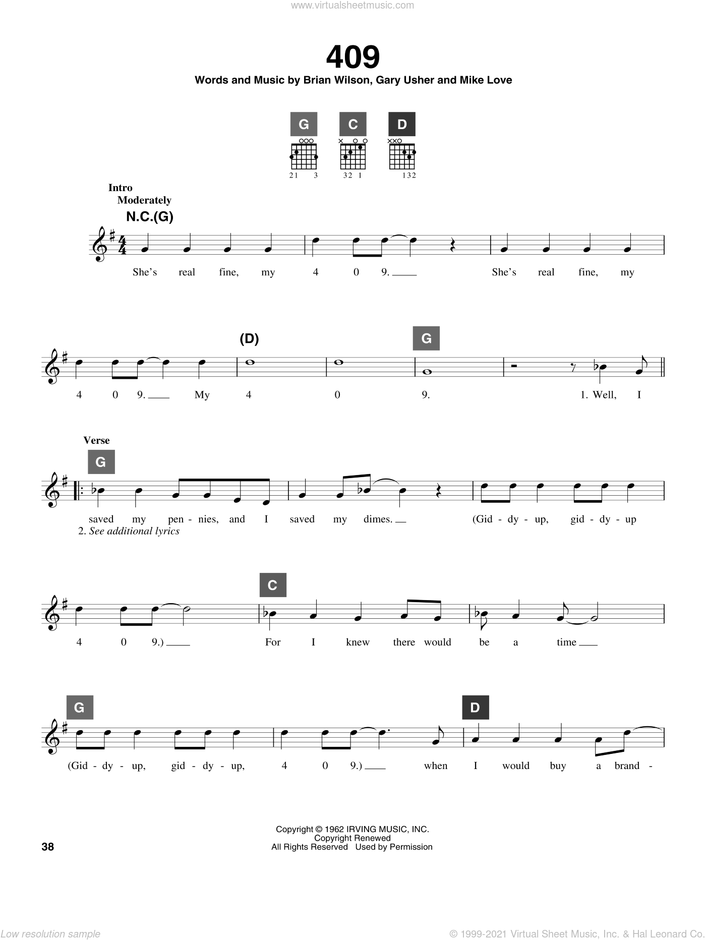 409 sheet music for guitar solo (ChordBuddy system) by The Beach Boys, Brian Wilson and Gary Usher, intermediate guitar (ChordBuddy system). Score Image Preview.