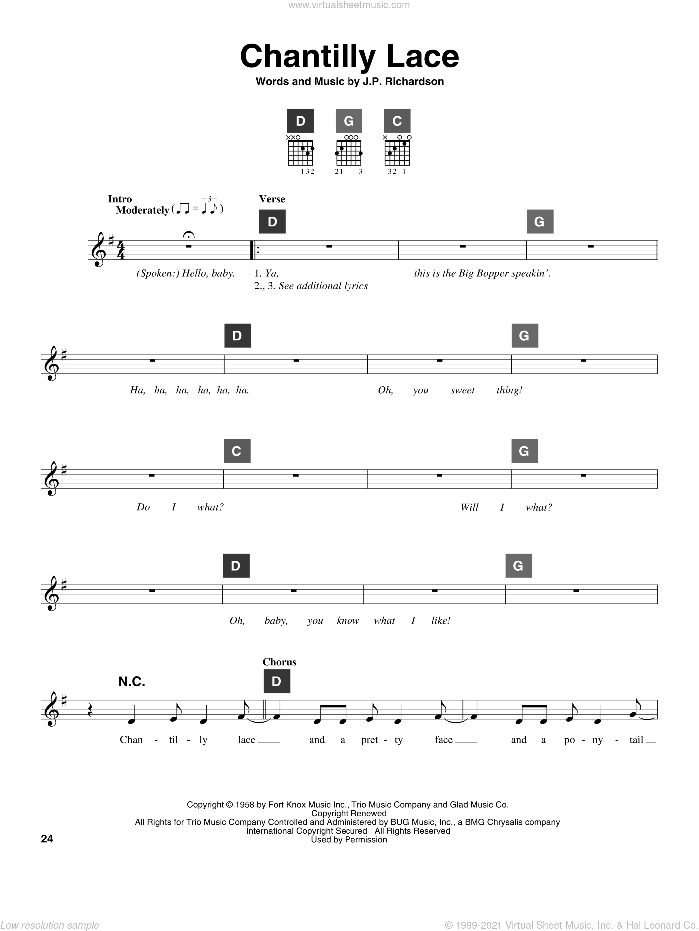 Chantilly Lace sheet music for guitar solo (ChordBuddy system) by Jerry Lee Lewis, Big Bopper and J.P. Richardson, intermediate guitar (ChordBuddy system)