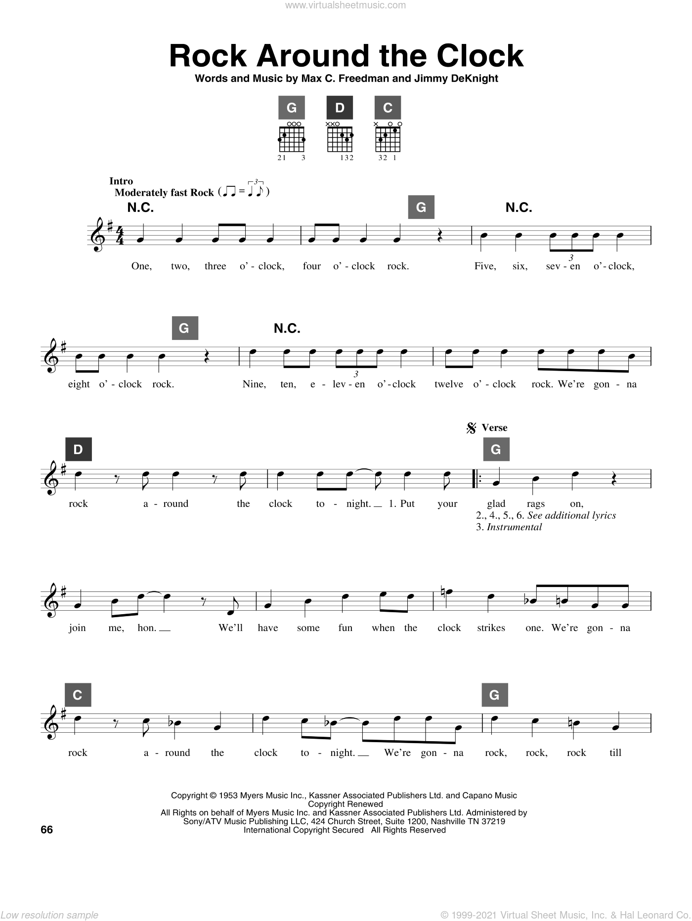 Rock Around The Clock sheet music for guitar solo (ChordBuddy system) by Bill Haley & His Comets. Score Image Preview.