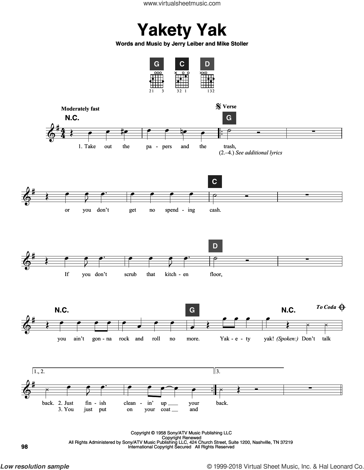 Yakety Yak sheet music for guitar solo (ChordBuddy system) by The Coasters, Jerry Leiber and Mike Stoller, intermediate guitar (ChordBuddy system)