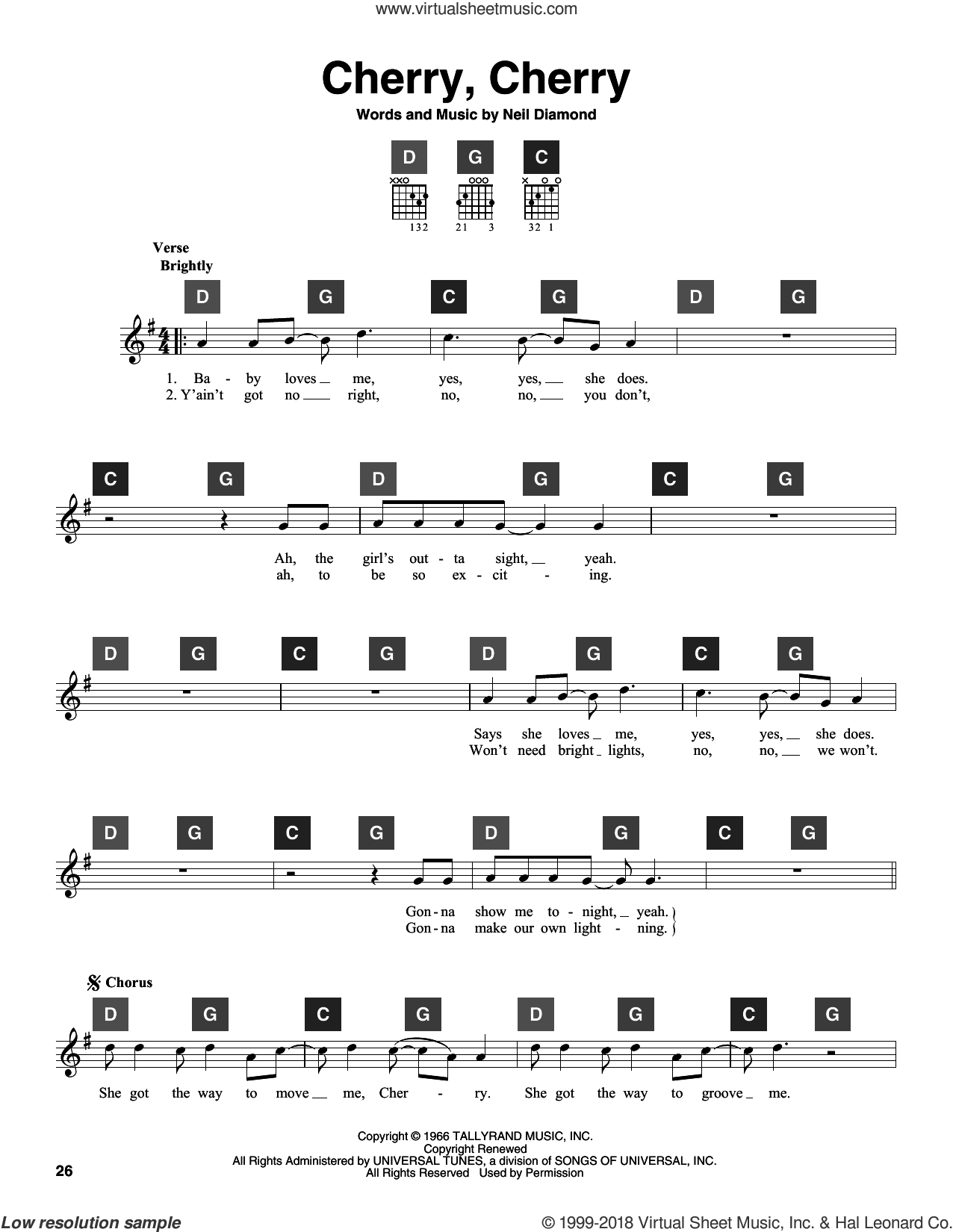 Cherry, Cherry sheet music for guitar solo (ChordBuddy system) by Neil Diamond, intermediate guitar (ChordBuddy system). Score Image Preview.