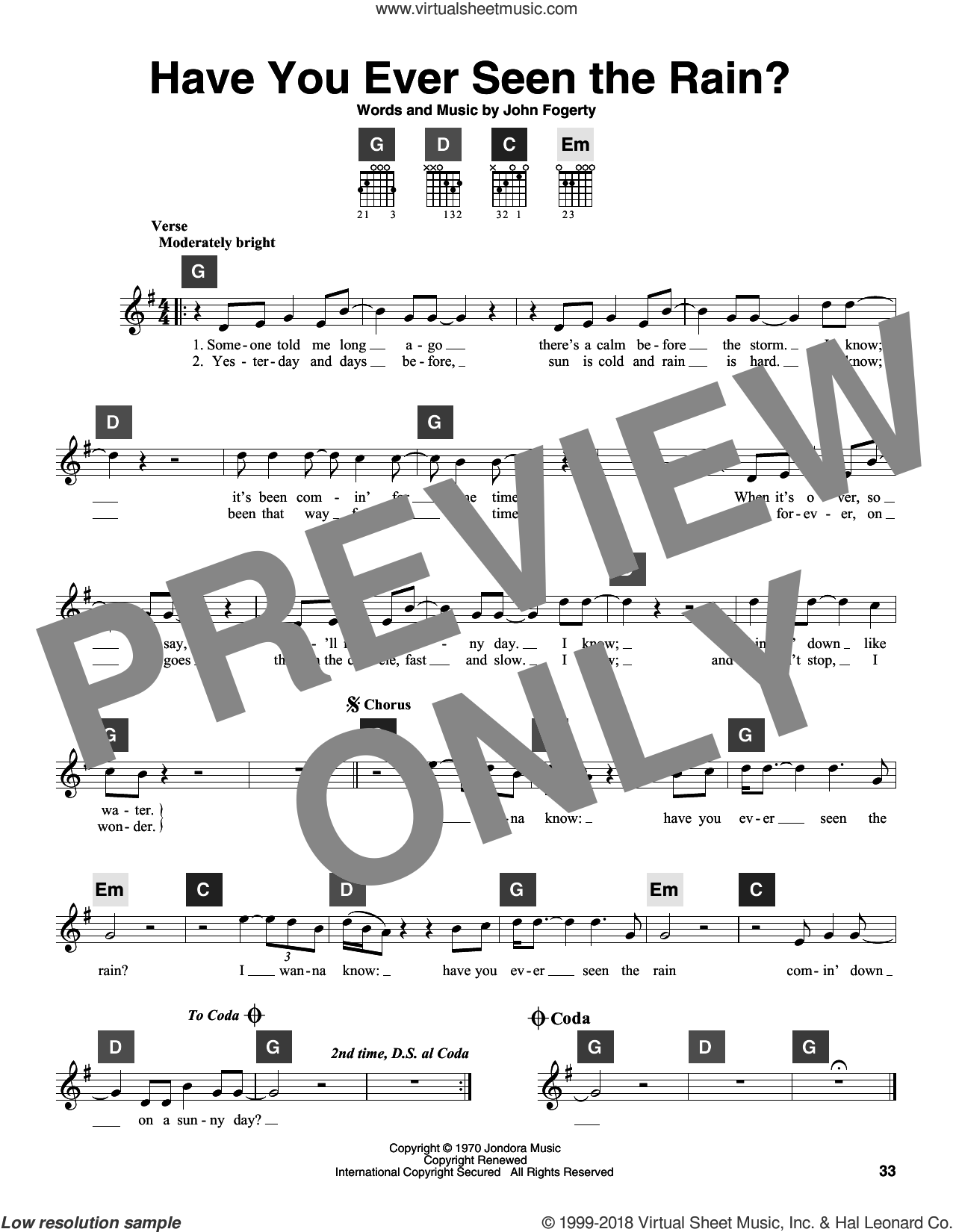 Have You Ever Seen The Rain? sheet music for guitar solo (ChordBuddy system) by Creedence Clearwater Revival and John Fogerty, intermediate guitar (ChordBuddy system). Score Image Preview.