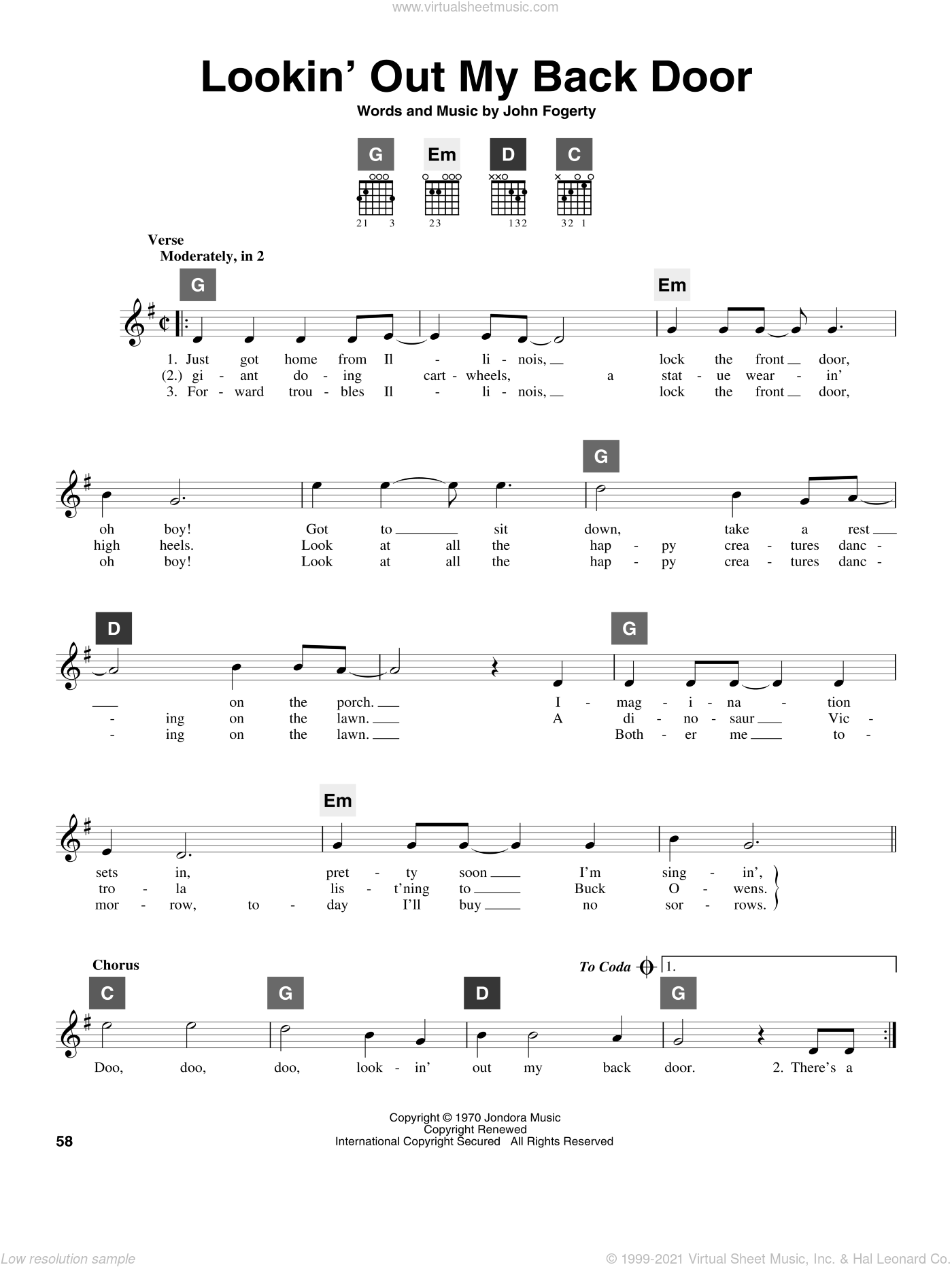 Lookin' Out My Back Door sheet music for guitar solo (ChordBuddy system) by Creedence Clearwater Revival and John Fogerty, intermediate guitar (ChordBuddy system). Score Image Preview.