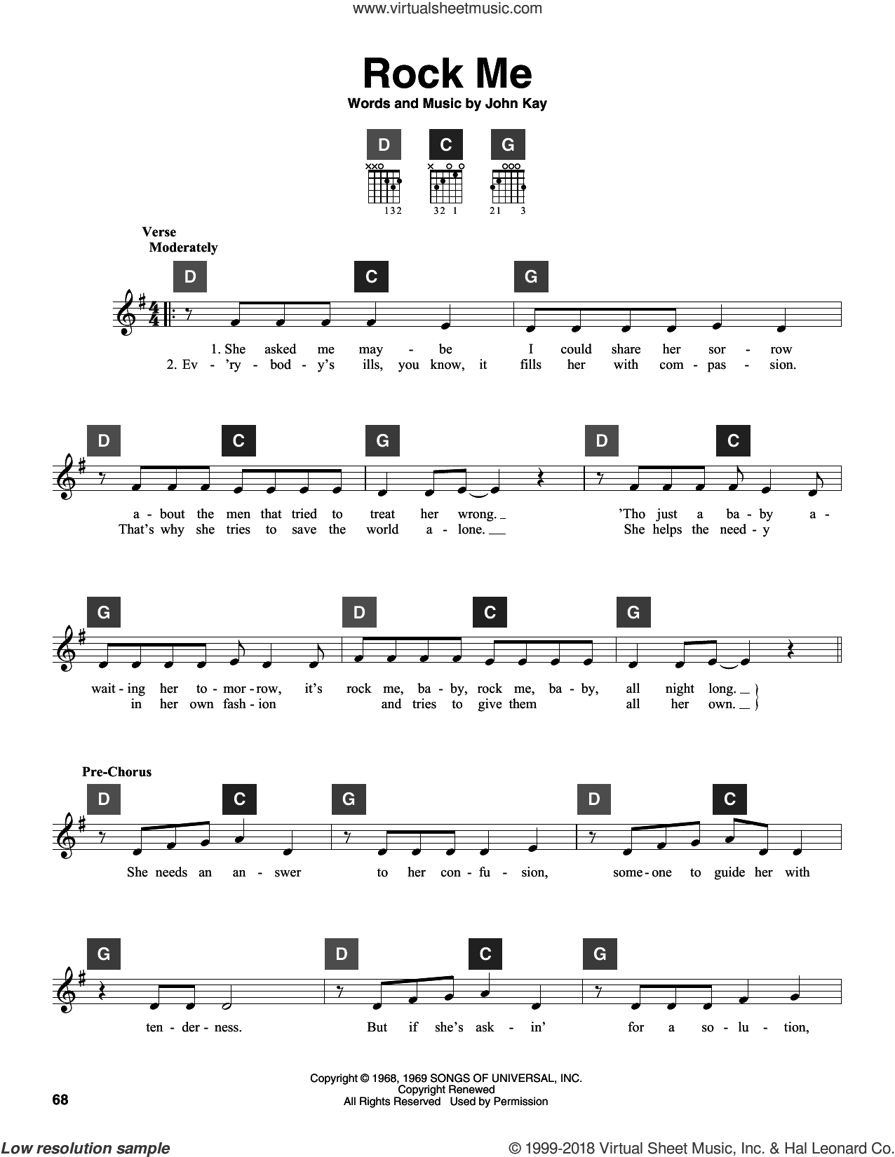Rock Me sheet music for guitar solo (ChordBuddy system) by Steppenwolf and John Kay, intermediate guitar (ChordBuddy system)