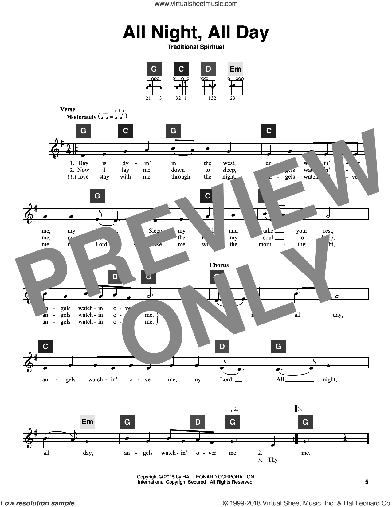 All Night, All Day sheet music for guitar solo (ChordBuddy system). Score Image Preview.