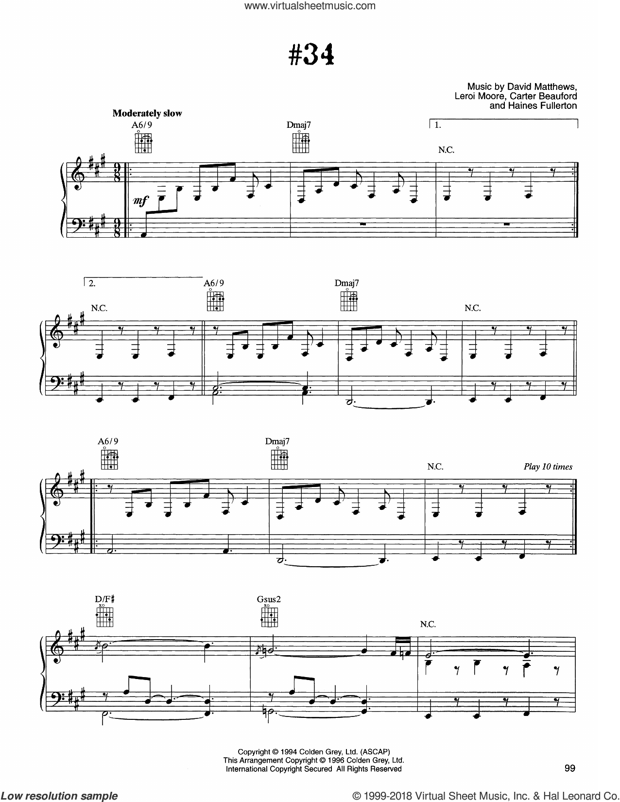 #34 sheet music for voice, piano or guitar by Dave Matthews Band, Carter Beauford, Haines Fullerton and Leroi Moore, intermediate skill level