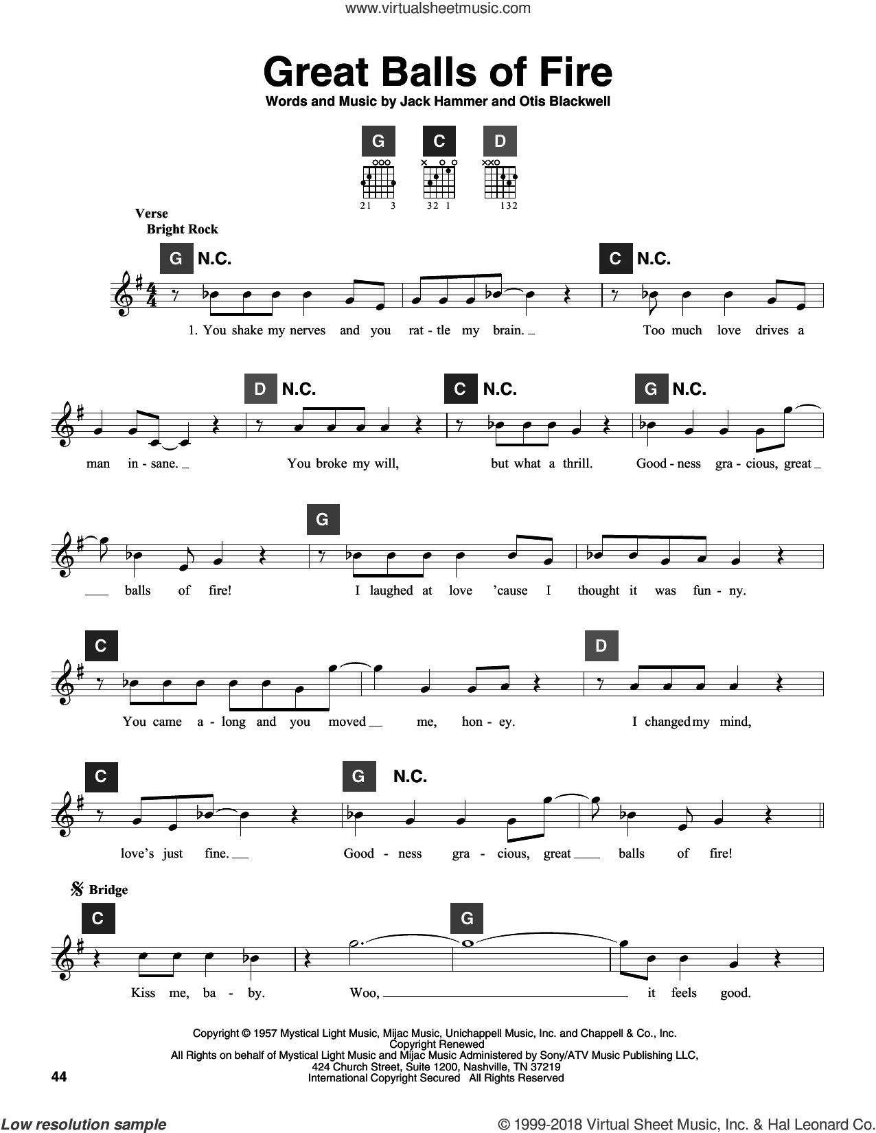 Great Balls Of Fire sheet music for guitar solo (ChordBuddy system) by Otis Blackwell, Jerry Lee Lewis and Jack Hammer. Score Image Preview.