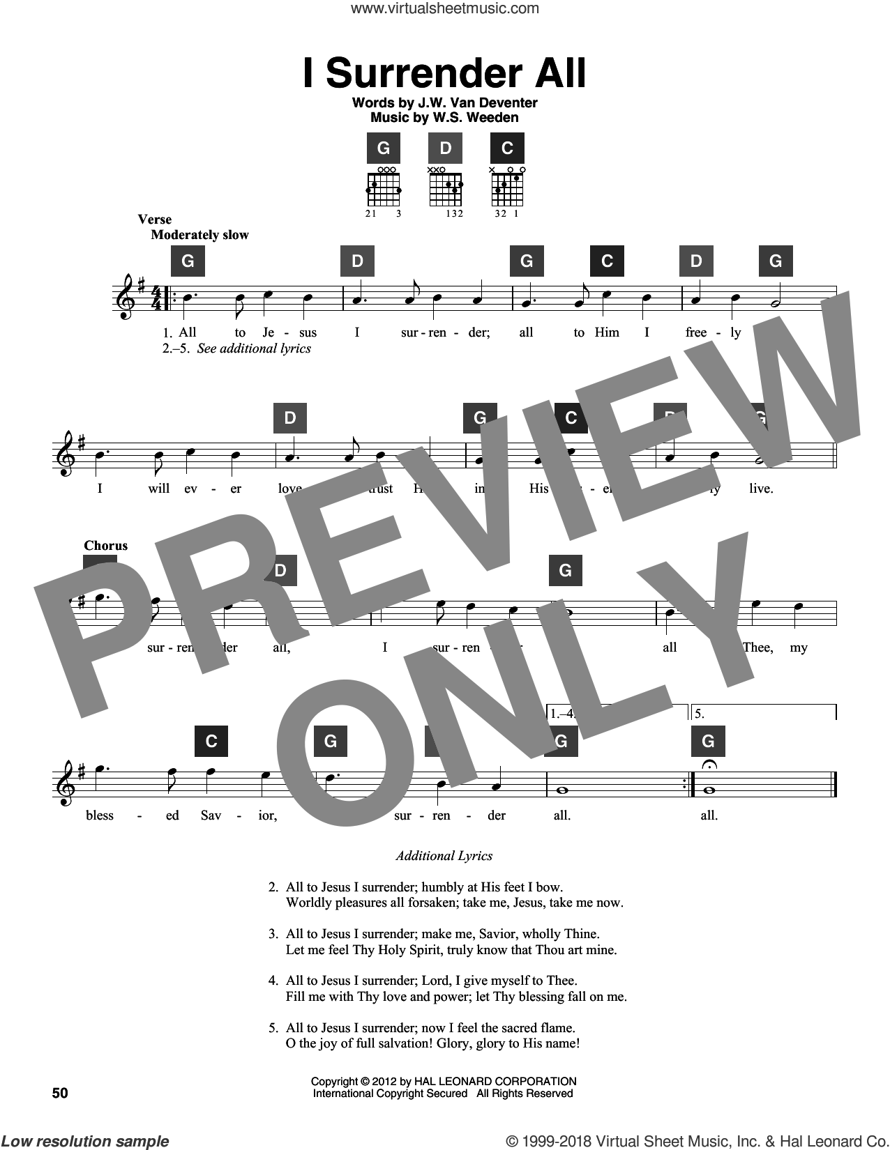 I Surrender All sheet music for guitar solo (ChordBuddy system) by Judson W. Van De Venter and Winfield S. Weeden, intermediate guitar (ChordBuddy system). Score Image Preview.