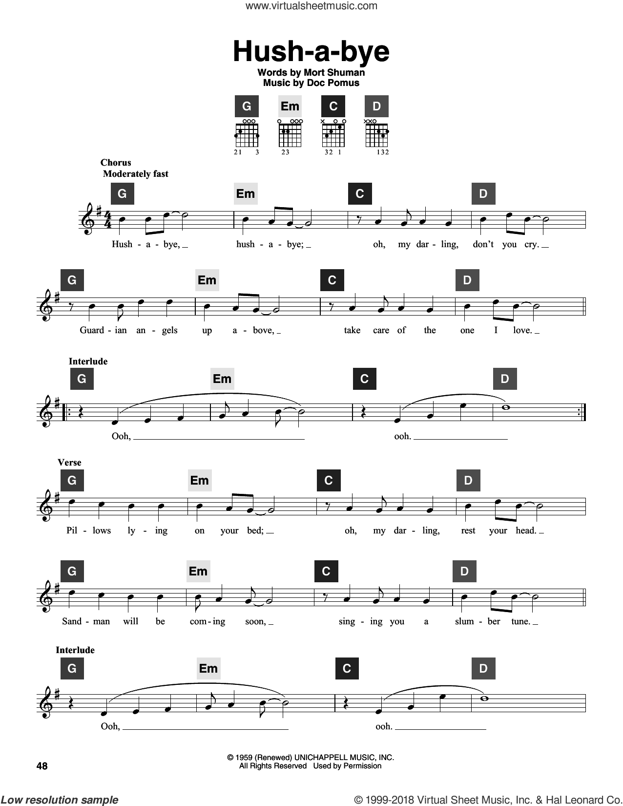 Hush-a-bye sheet music for guitar solo (ChordBuddy system) by Mystics, Doc Pomus and Mort Shuman, intermediate guitar (ChordBuddy system)