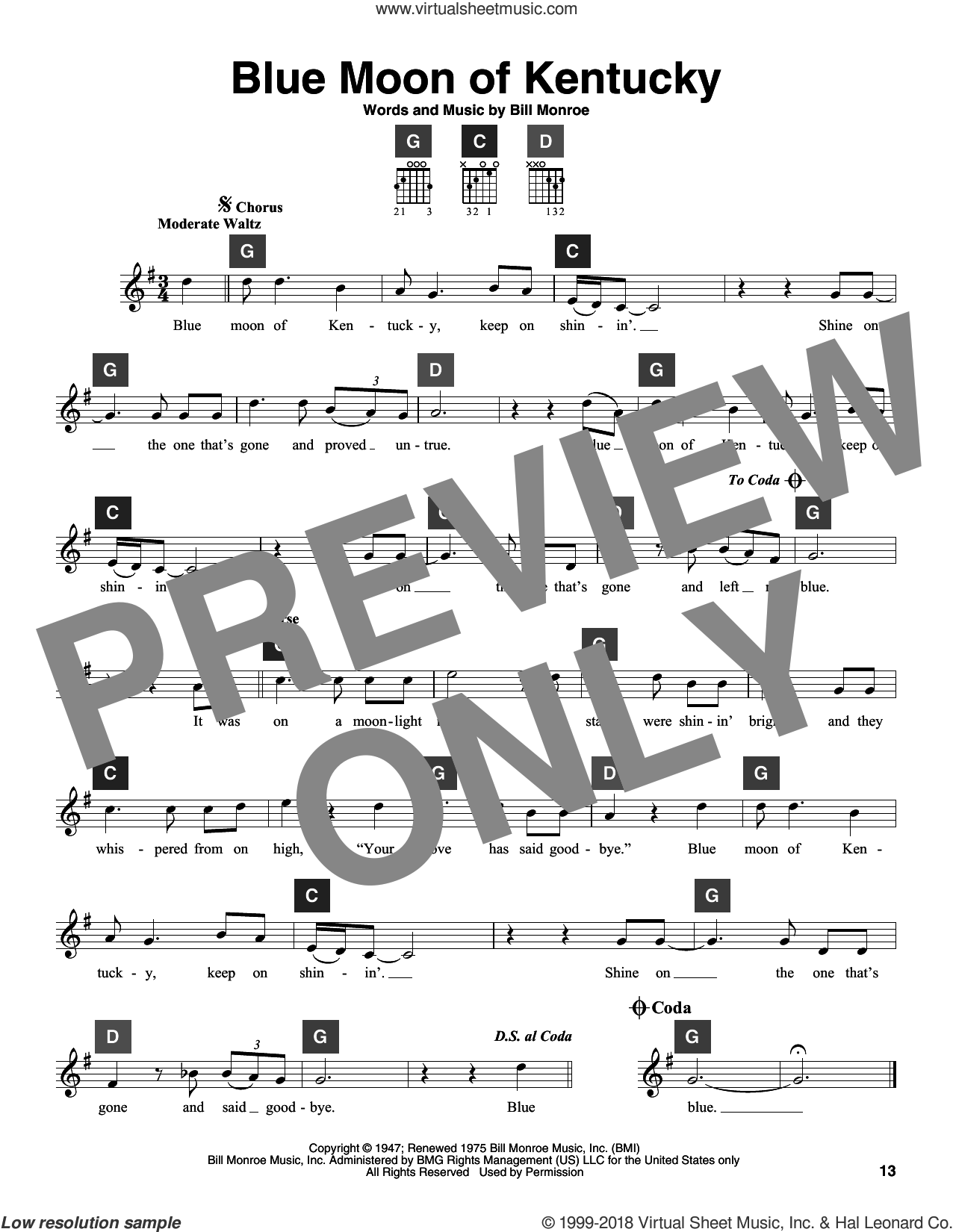 Blue Moon Of Kentucky sheet music for guitar solo (ChordBuddy system) by Bill Monroe, Elvis Presley and Patsy Cline, intermediate guitar (ChordBuddy system)