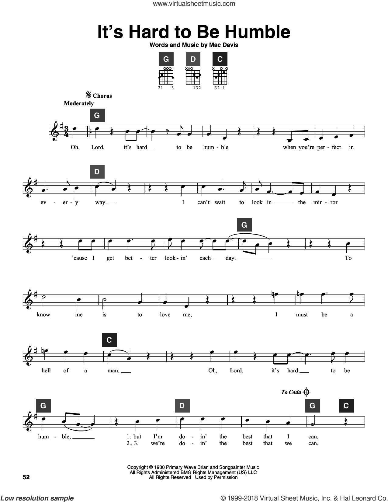Davis Its Hard To Be Humble Sheet Music Intermediate For Guitar