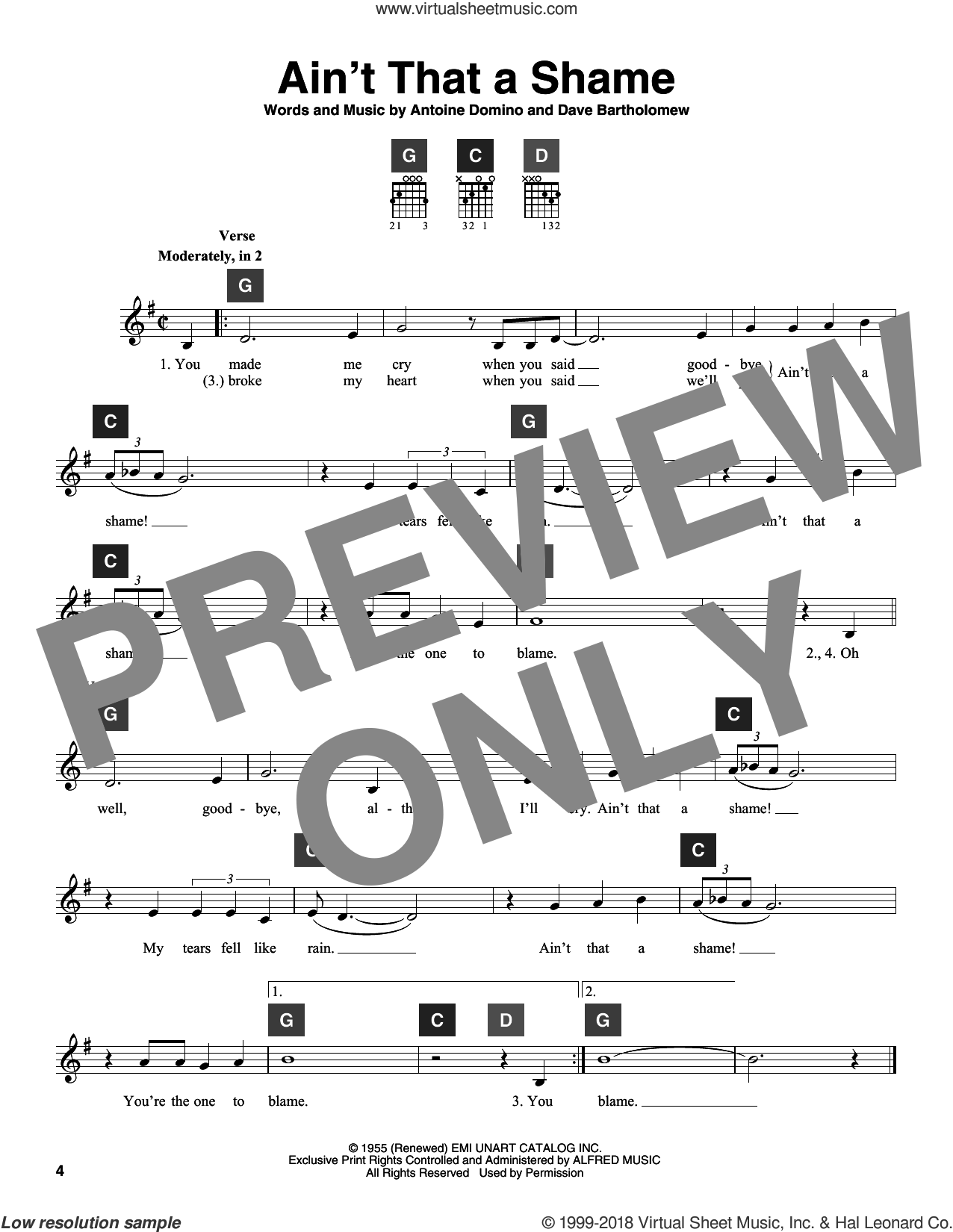 Ain't That A Shame sheet music for guitar solo (ChordBuddy system) by Dave Bartholomew and Antoine Domino. Score Image Preview.