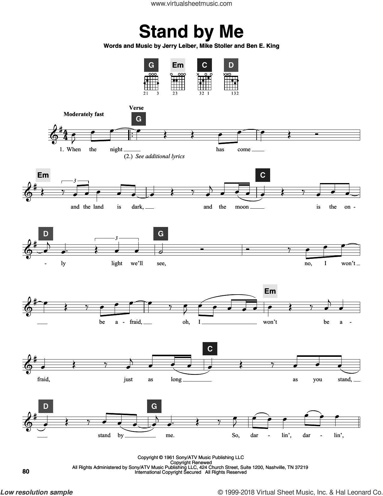 king stand by me sheet music intermediate for guitar solo chordbuddy system. Black Bedroom Furniture Sets. Home Design Ideas