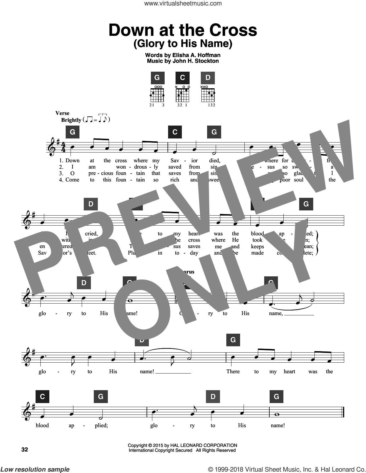 Down At The Cross (Glory To His Name) sheet music for guitar solo (ChordBuddy system) by John H. Stockton and Elisha A. Hoffman. Score Image Preview.