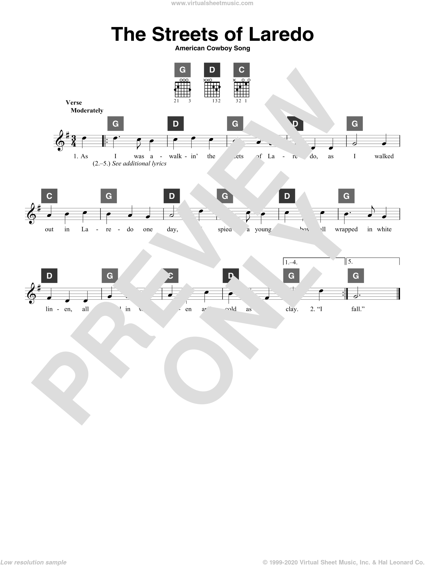 The Streets Of Laredo sheet music for guitar solo (ChordBuddy system). Score Image Preview.