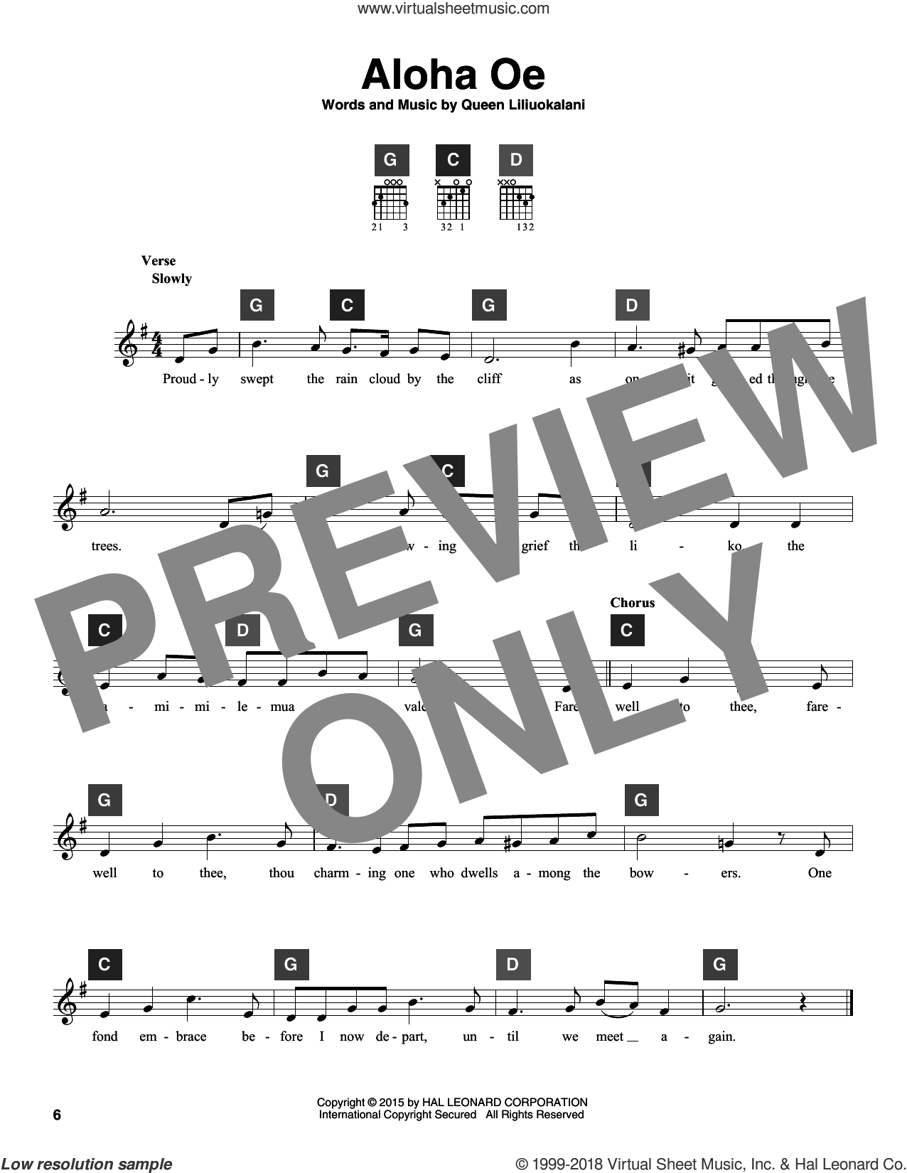 Aloha Oe sheet music for guitar solo (ChordBuddy system) by Queen Liliuokalani. Score Image Preview.