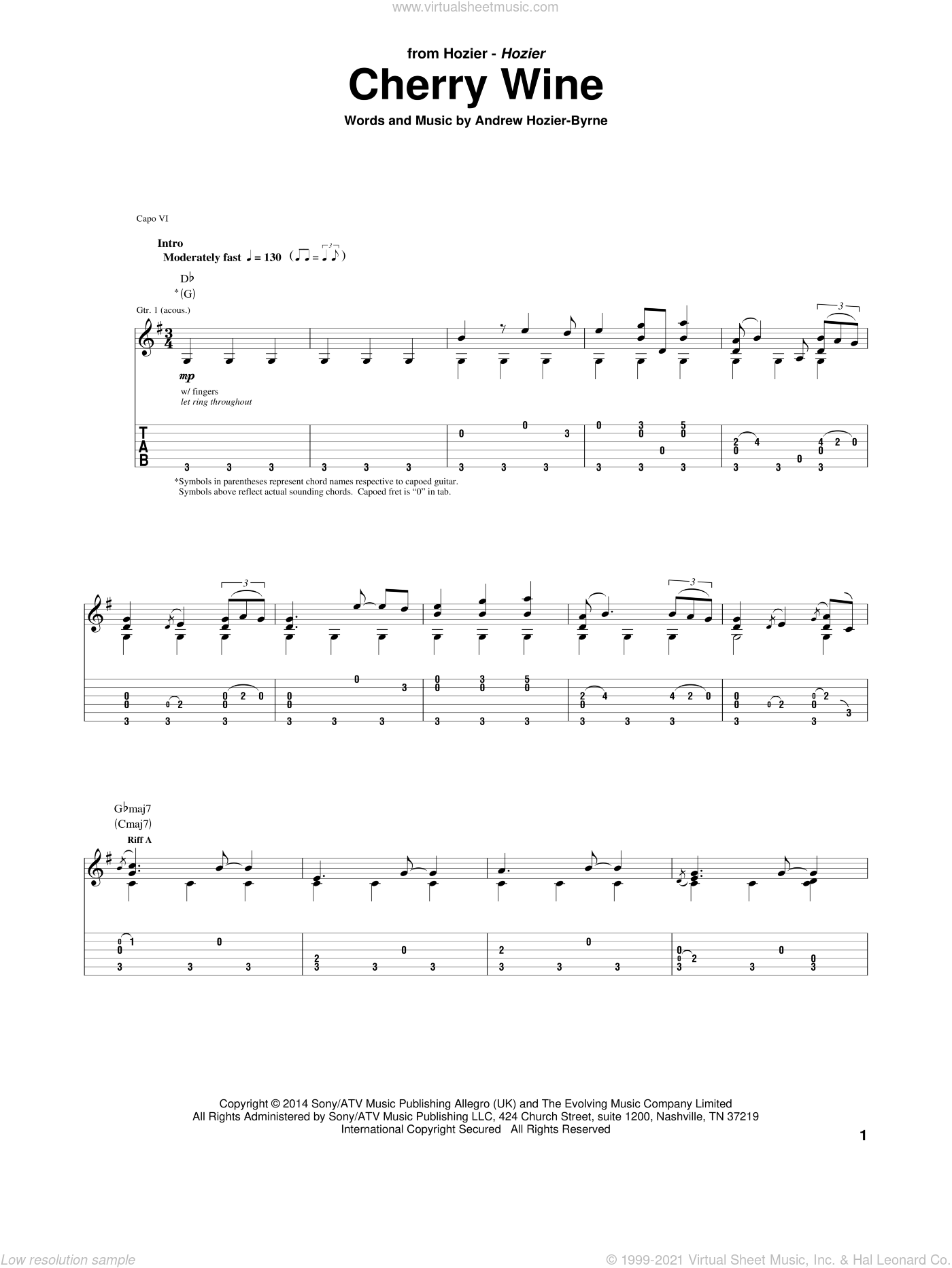 Cherry Wine sheet music for guitar (tablature) by Andrew Hozier-Byrne. Score Image Preview.