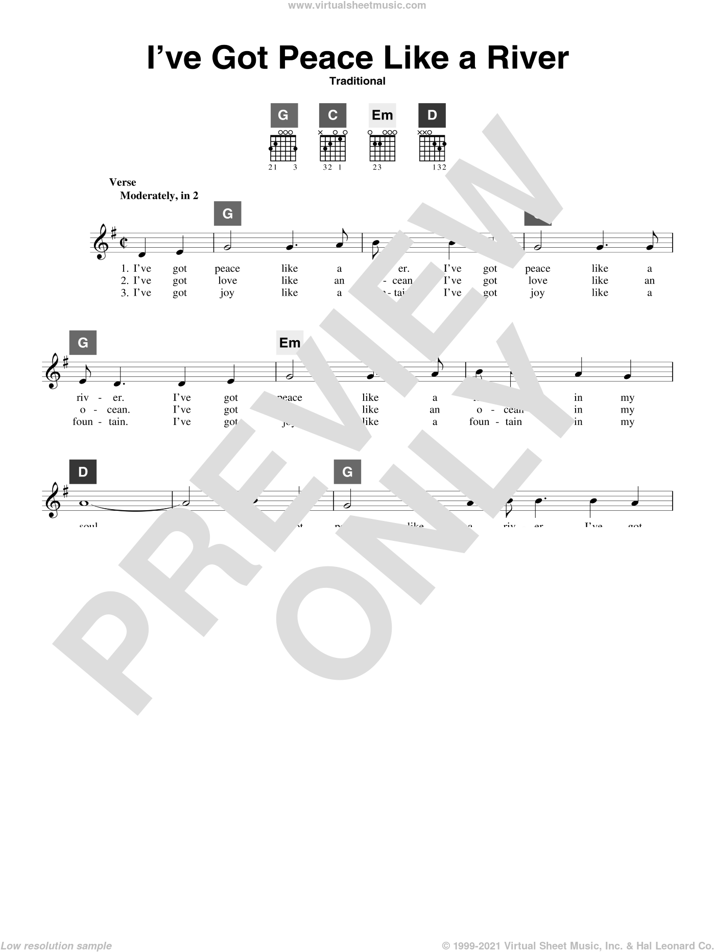 I've Got Peace Like A River sheet music for guitar solo (ChordBuddy system), intermediate guitar (ChordBuddy system)