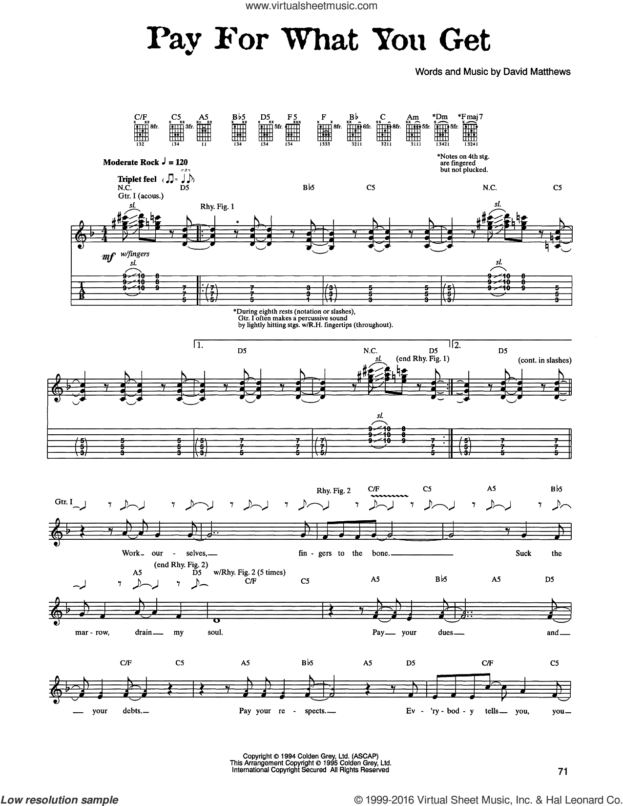 Pay For What You Get sheet music for guitar (tablature) by Dave Matthews Band. Score Image Preview.