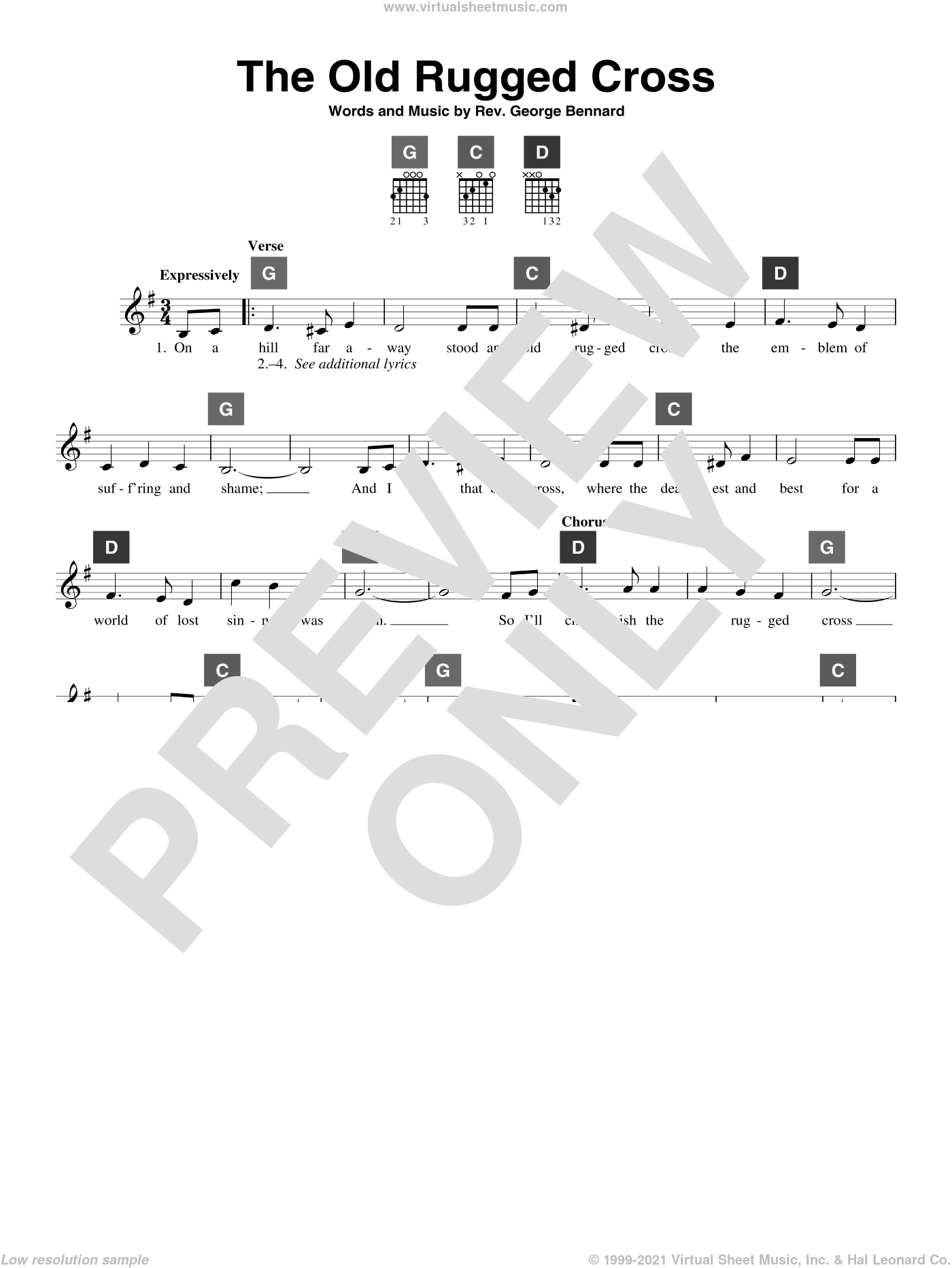 The Old Rugged Cross sheet music for guitar solo (ChordBuddy system) by Rev. George Bennard. Score Image Preview.