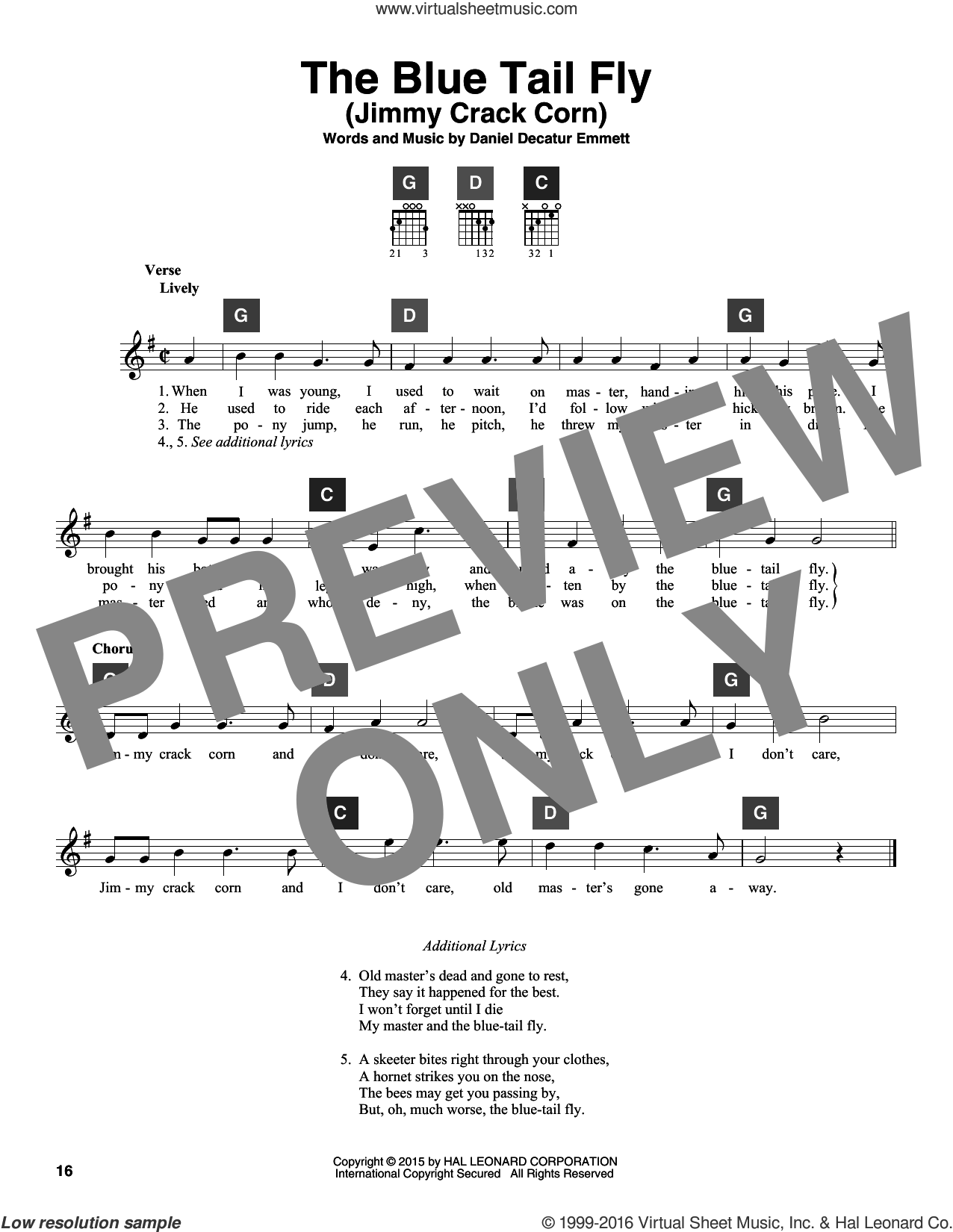 The Blue Tail Fly (Jimmy Crack Corn) sheet music for guitar solo (ChordBuddy system) by Daniel Decatur Emmett and Miscellaneous. Score Image Preview.
