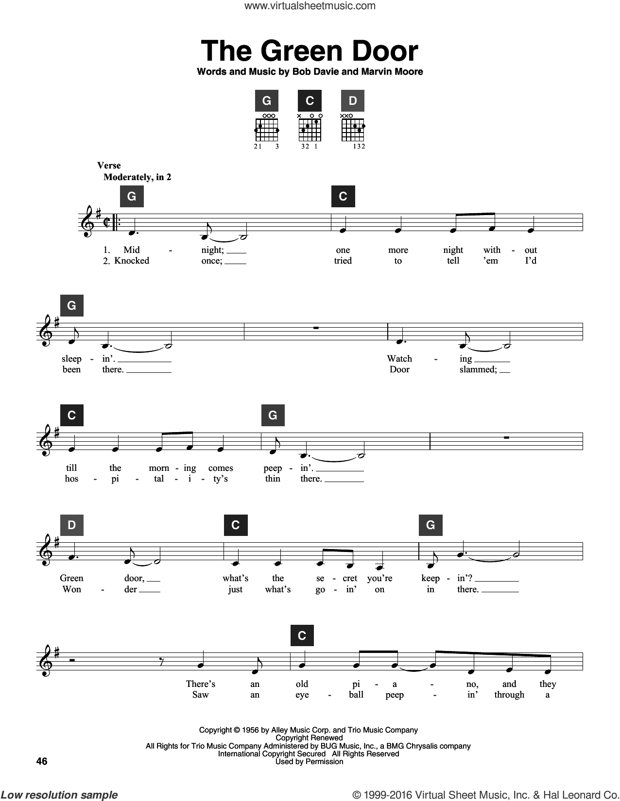 The Green Door sheet music for guitar solo (ChordBuddy system) by Marvin Moore and Jim Lowe. Score Image Preview.