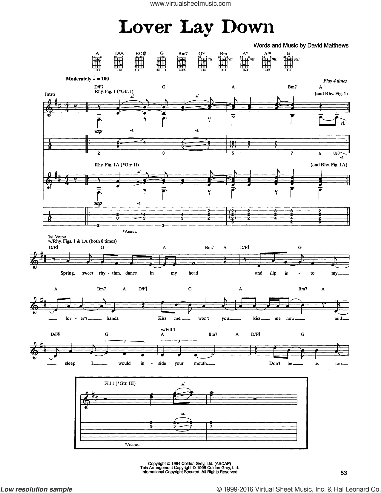 Lover Lay Down sheet music for guitar (tablature) by Dave Matthews Band, intermediate
