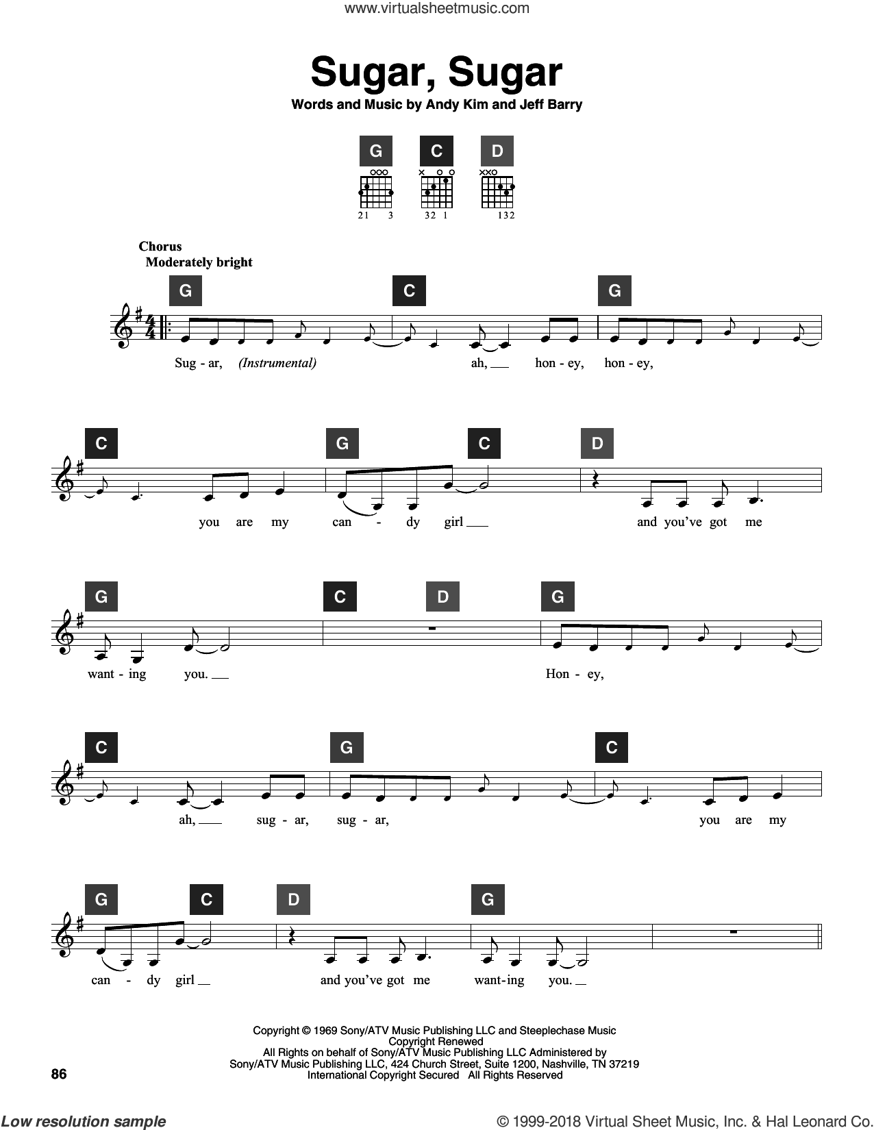 Sugar, Sugar sheet music for guitar solo (ChordBuddy system) by The Archies, Wilson Pickett and Jeff Barry, intermediate guitar (ChordBuddy system). Score Image Preview.