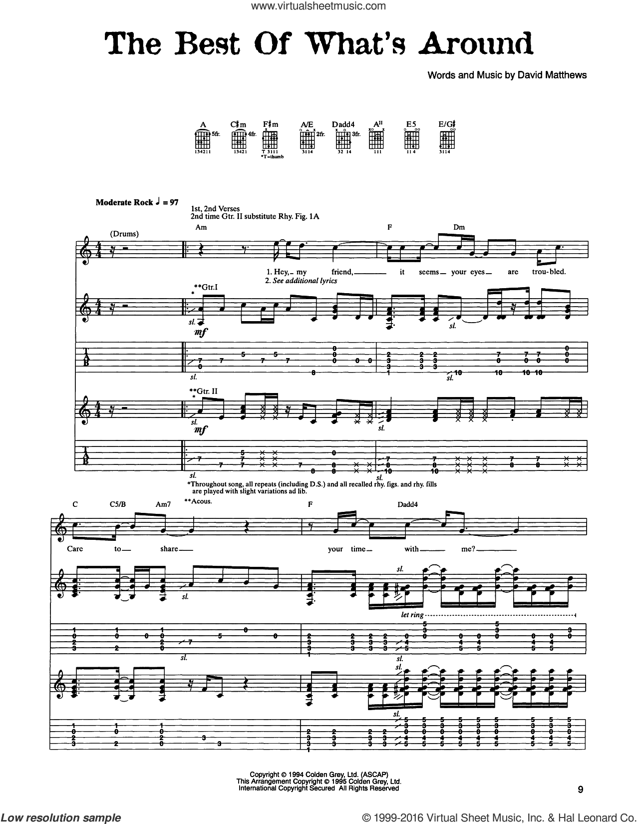 The Best Of What's Around sheet music for guitar (tablature) by Dave Matthews Band. Score Image Preview.