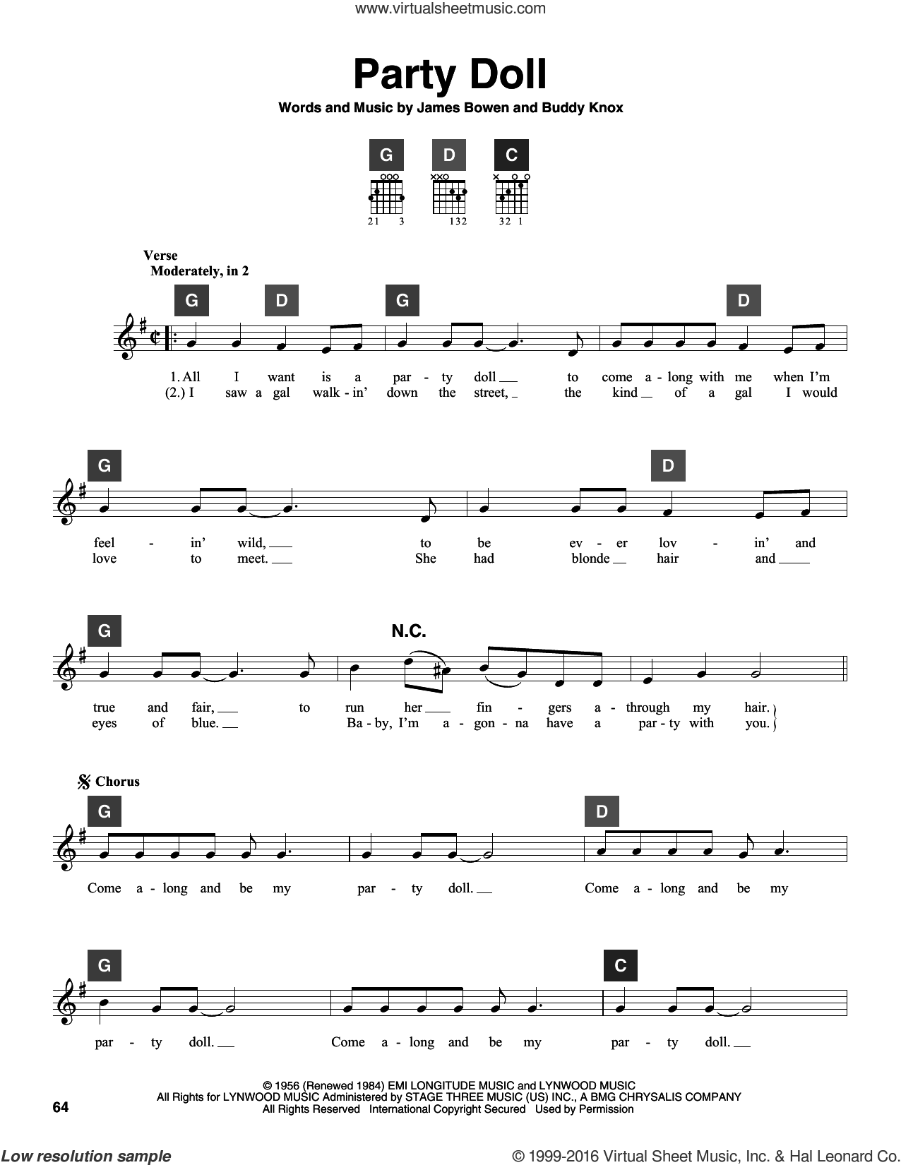 Party Doll sheet music for guitar solo (ChordBuddy system) by Buddy Knox and James Bowen, intermediate guitar (ChordBuddy system)