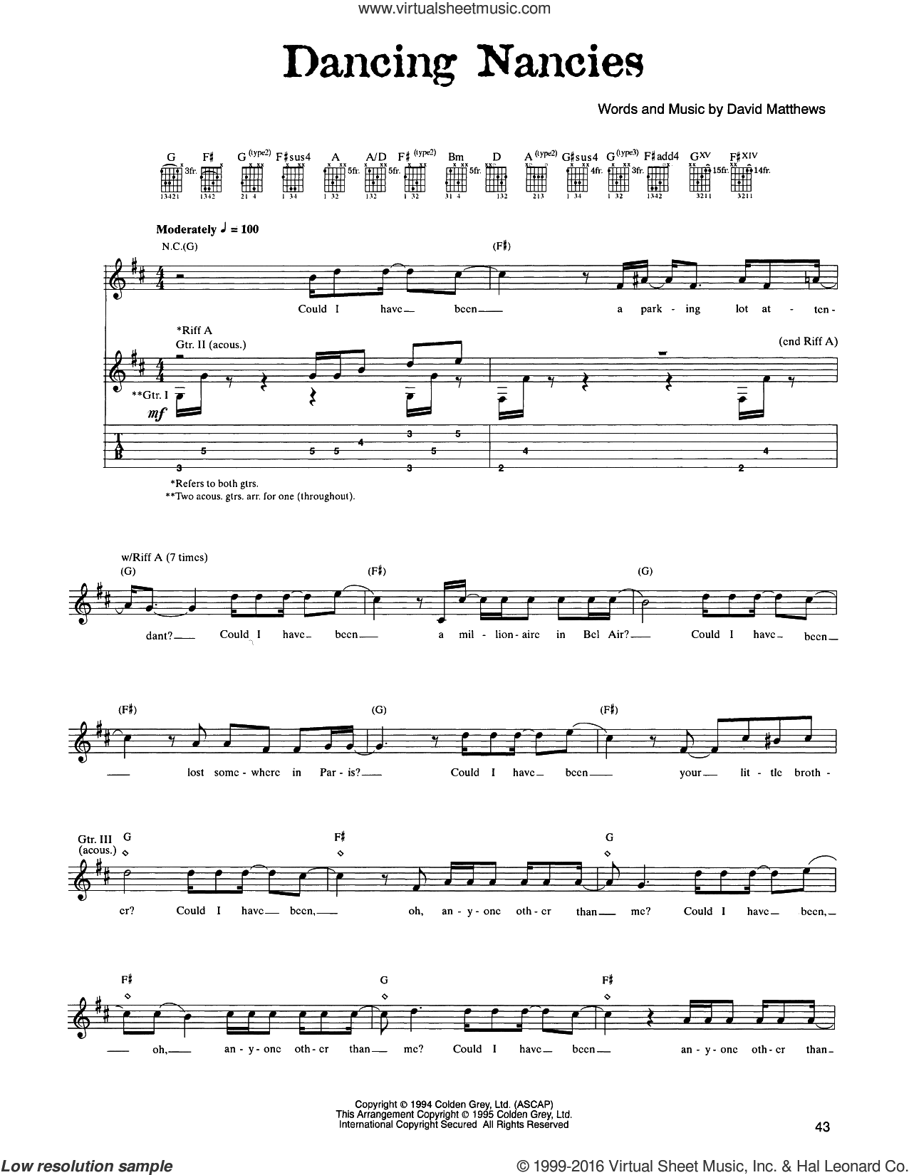 Dancing Nancies sheet music for guitar (tablature) by Dave Matthews Band. Score Image Preview.