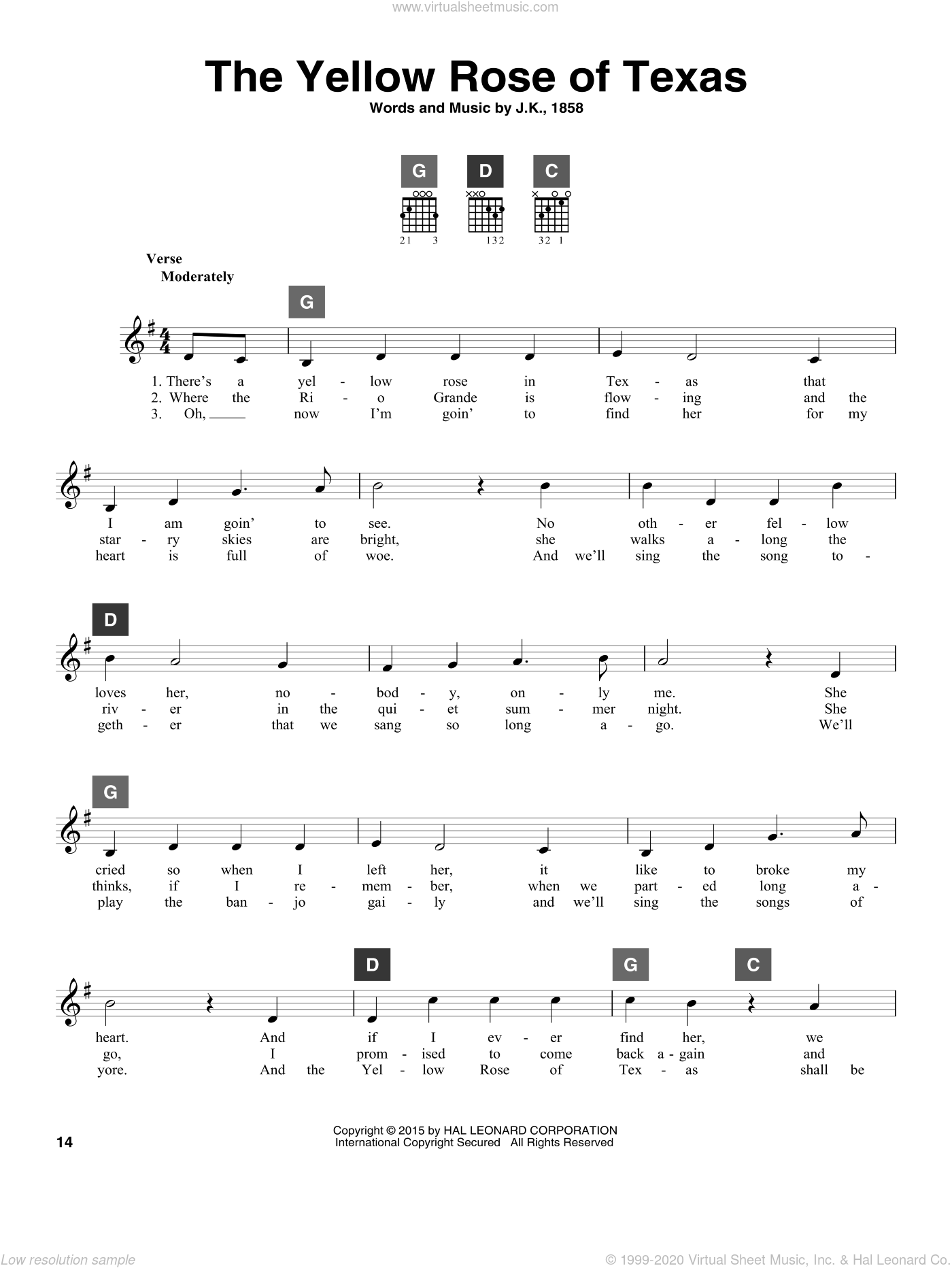 The Yellow Rose Of Texas sheet music for guitar solo (ChordBuddy system), intermediate guitar (ChordBuddy system)