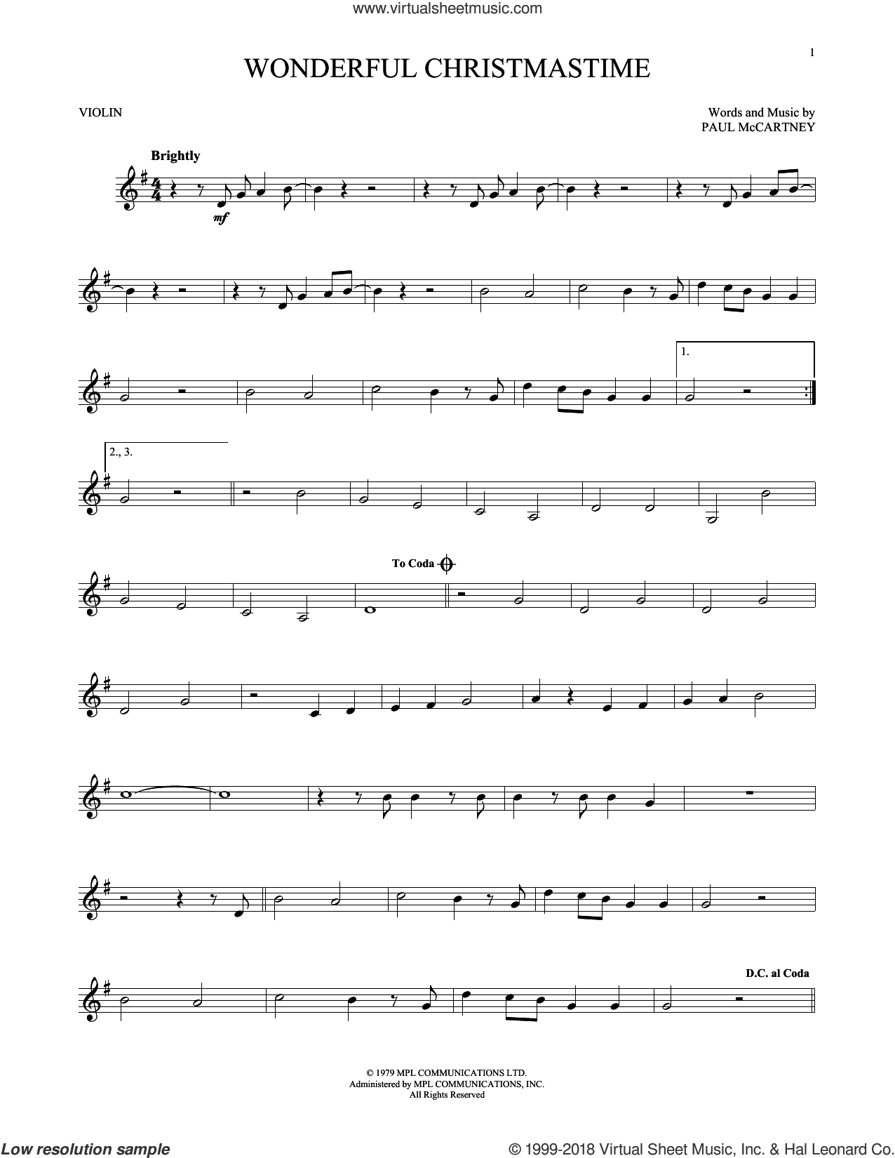 Wonderful Christmastime sheet music for violin solo by Paul McCartney, Eli Young Band and Straight No Chaser featuring Paul McCartney, intermediate skill level