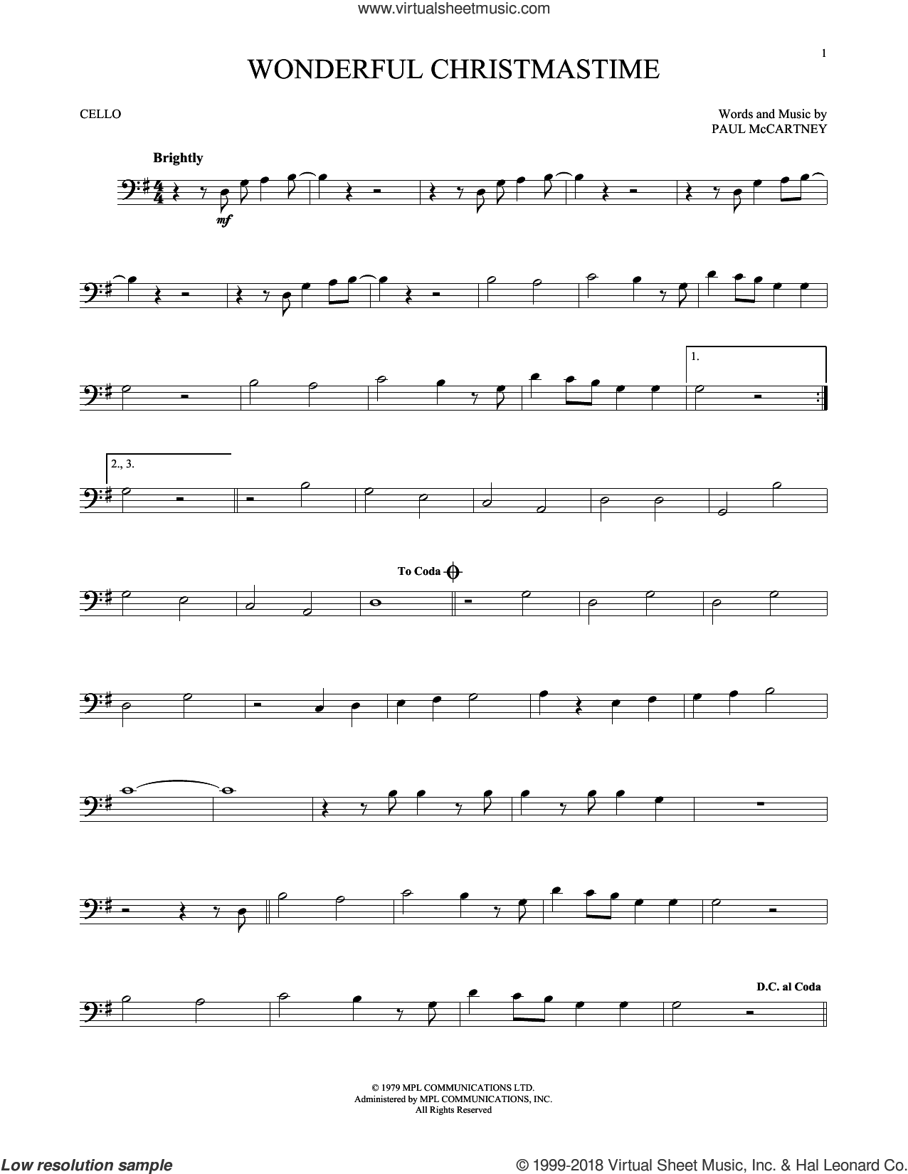 Wonderful Christmastime sheet music for cello solo by Paul McCartney, Eli Young Band and Straight No Chaser featuring Paul McCartney, intermediate skill level