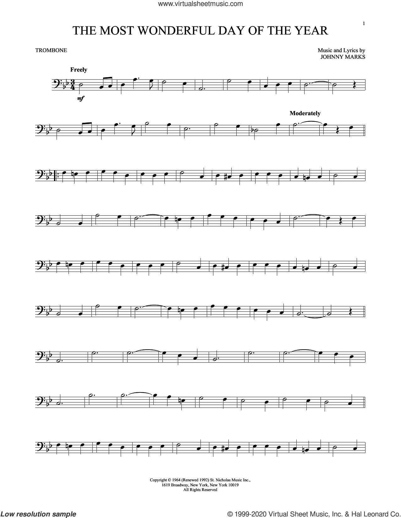 The Most Wonderful Day Of The Year sheet music for trombone solo by Johnny Marks, intermediate skill level
