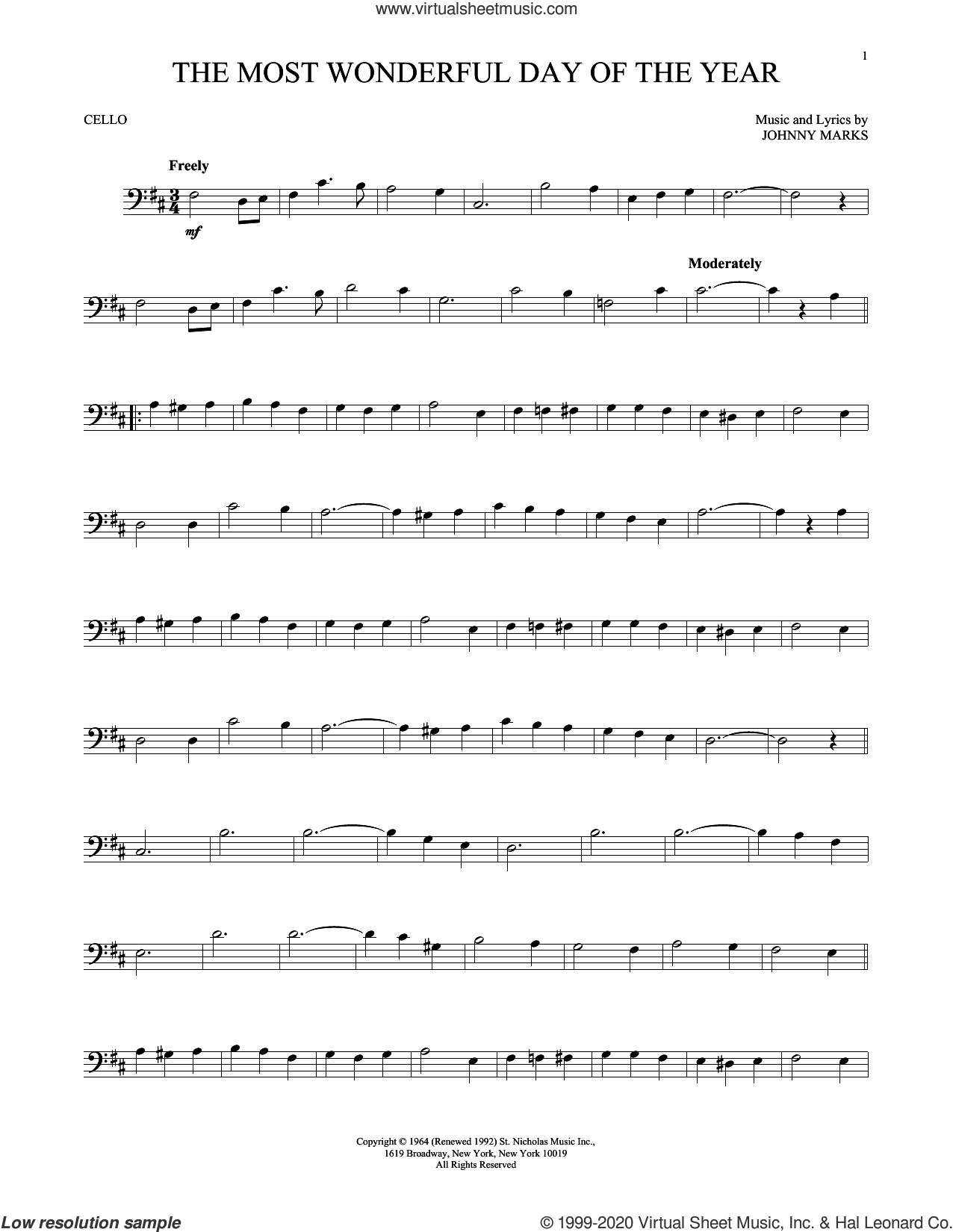 The Most Wonderful Day Of The Year sheet music for cello solo by Johnny Marks, intermediate skill level