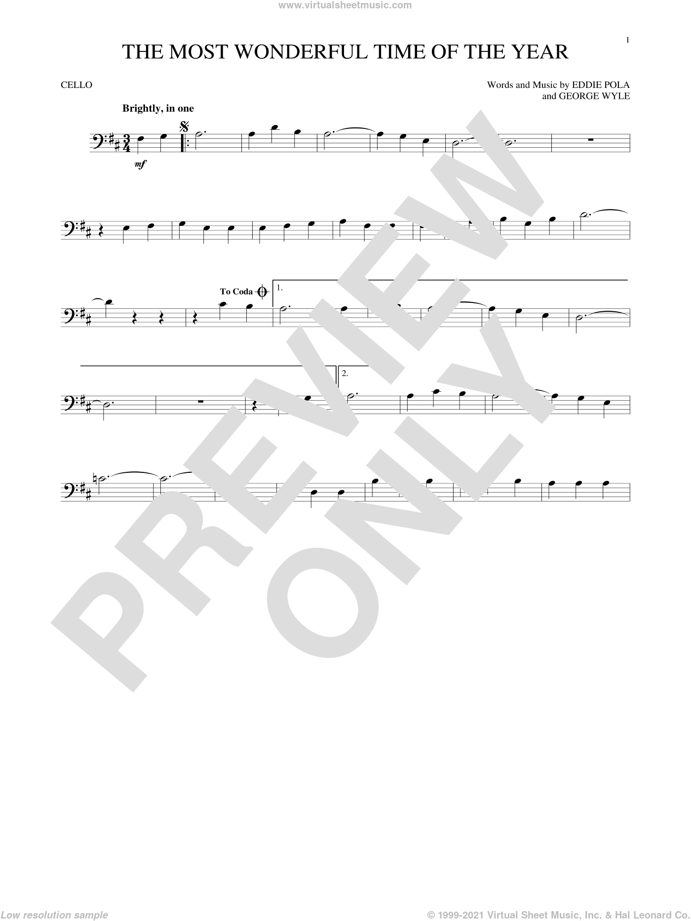 The Most Wonderful Time Of The Year sheet music for cello solo by George Wyle, Andy Williams and Eddie Pola. Score Image Preview.