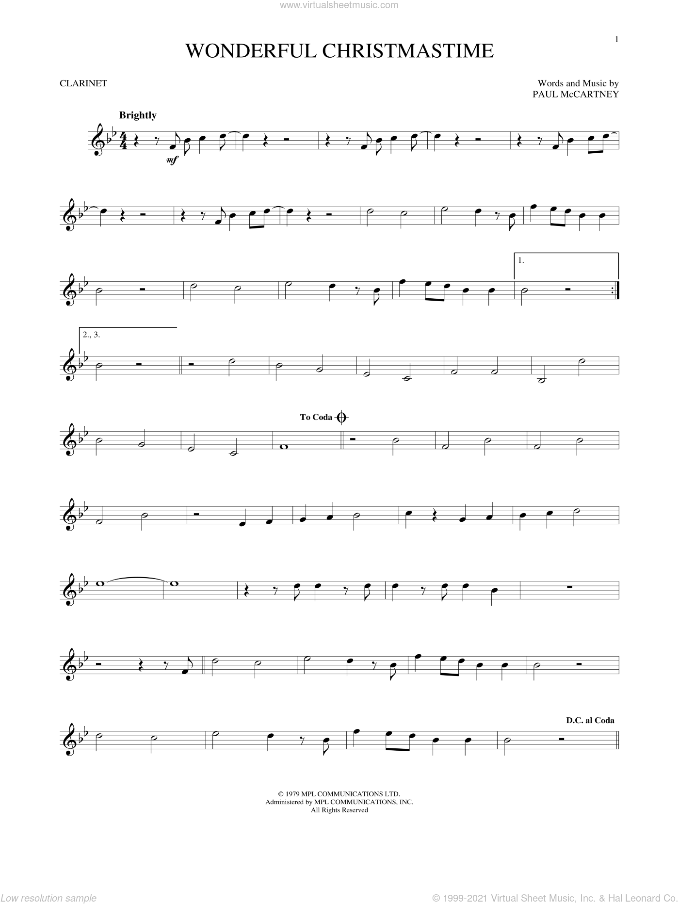 Wonderful Christmastime sheet music for clarinet solo by Paul McCartney, Eli Young Band and Straight No Chaser featuring Paul McCartney, intermediate skill level