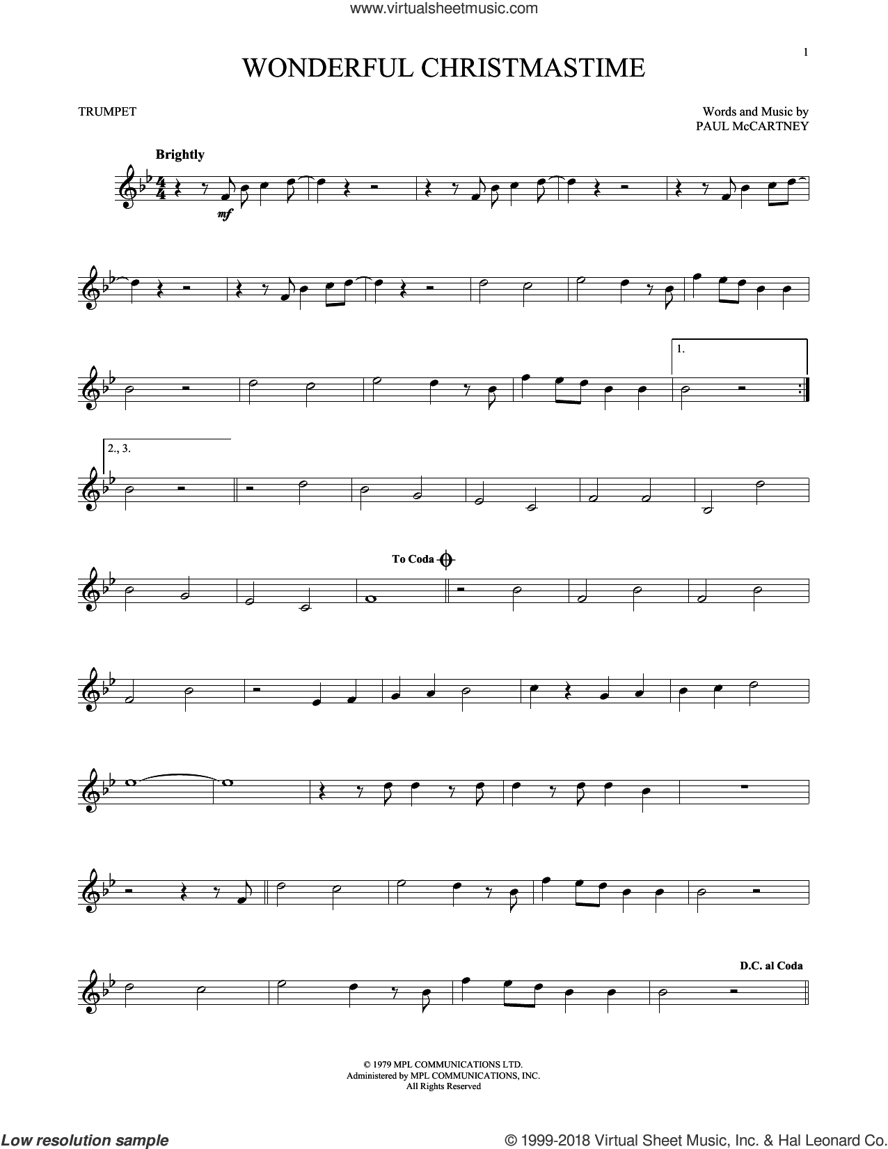 Wonderful Christmastime sheet music for trumpet solo by Paul McCartney, Eli Young Band and Straight No Chaser featuring Paul McCartney, intermediate skill level