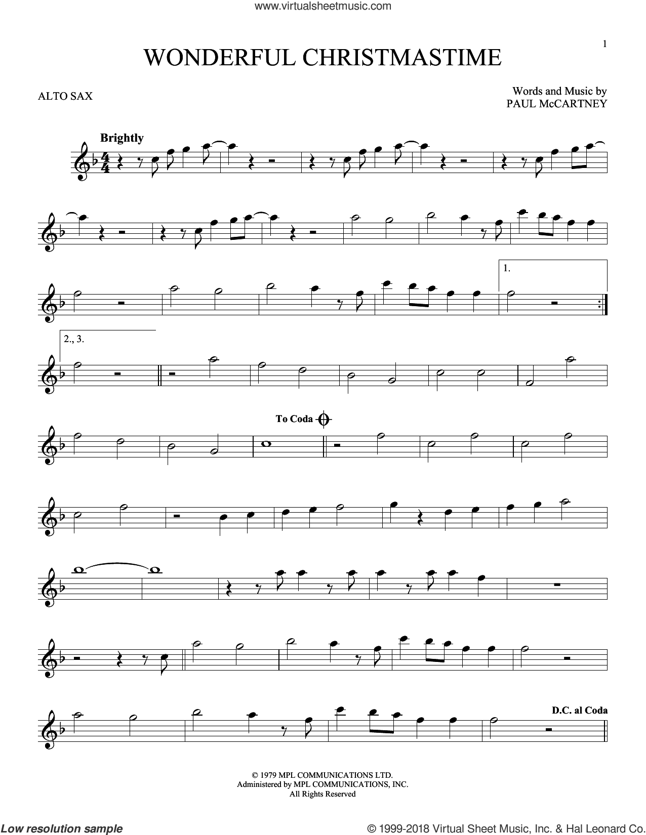 Wonderful Christmastime sheet music for alto saxophone solo by Paul McCartney, Eli Young Band and Straight No Chaser featuring Paul McCartney, intermediate skill level