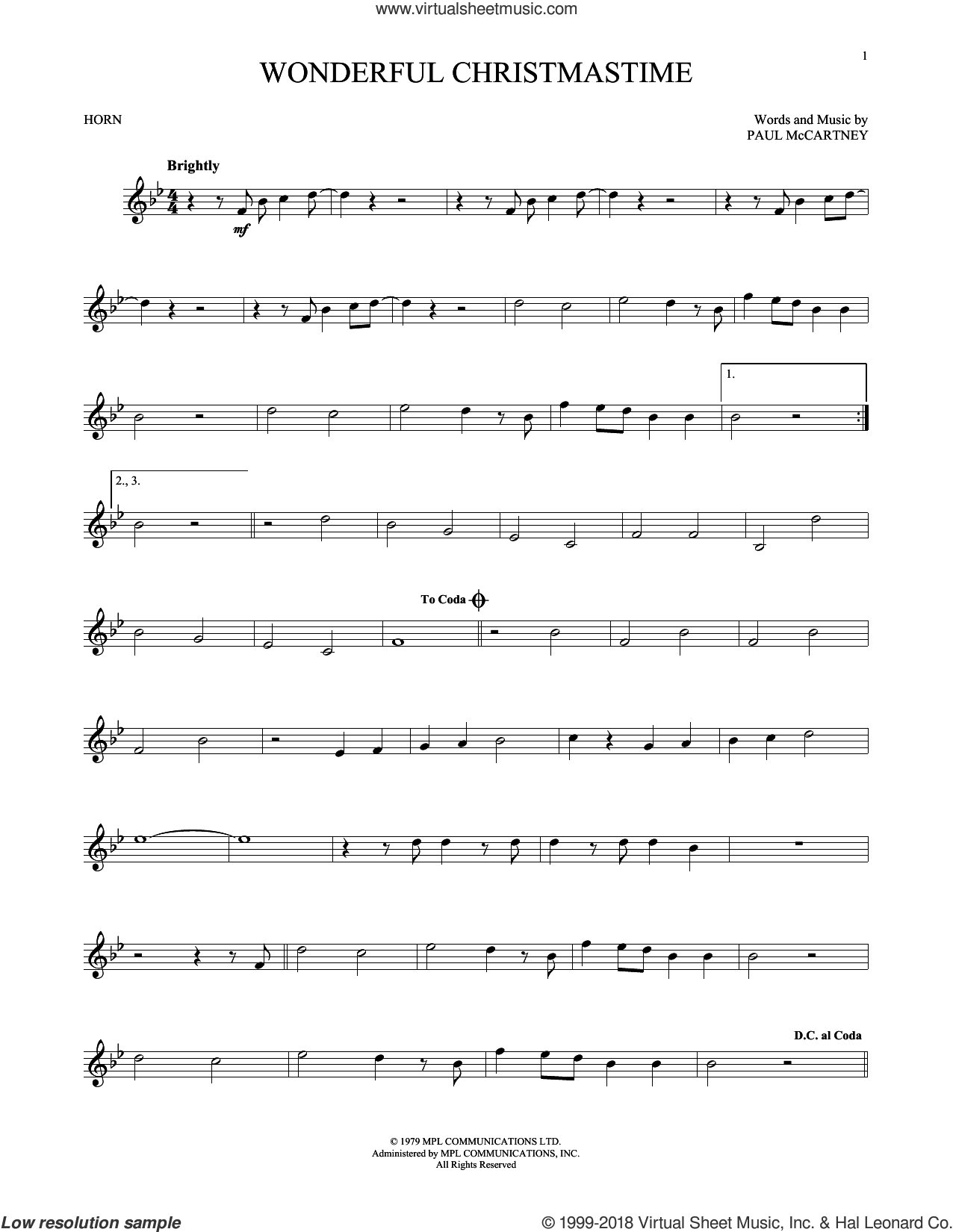 Wonderful Christmastime sheet music for horn solo by Paul McCartney, Eli Young Band and Straight No Chaser featuring Paul McCartney, intermediate skill level