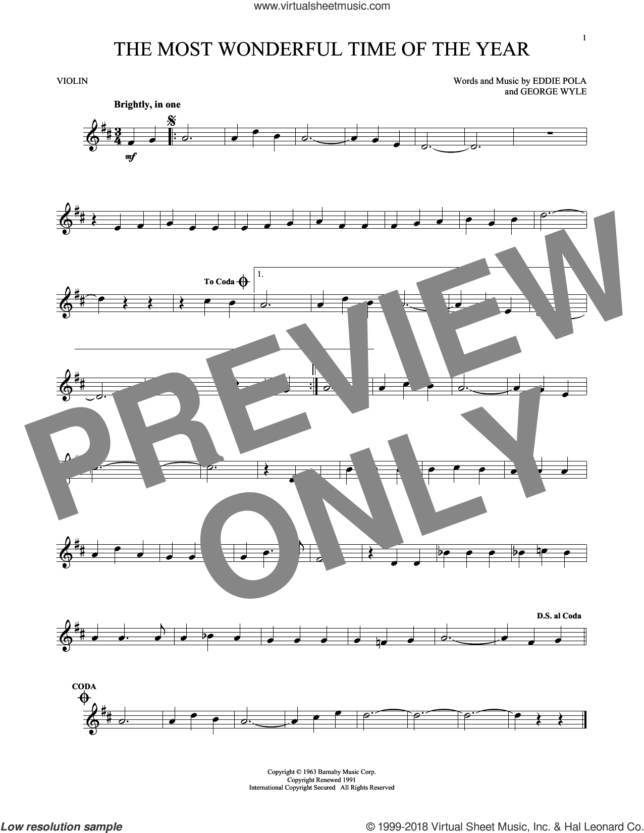 The Most Wonderful Time Of The Year sheet music for violin solo by George Wyle, Andy Williams and Eddie Pola, Christmas carol score, intermediate violin. Score Image Preview.