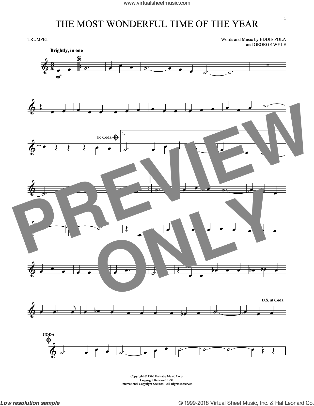 The Most Wonderful Time Of The Year sheet music for trumpet solo by George Wyle, Andy Williams, Eddie Pola and George Wyle & Eddie Pola, intermediate