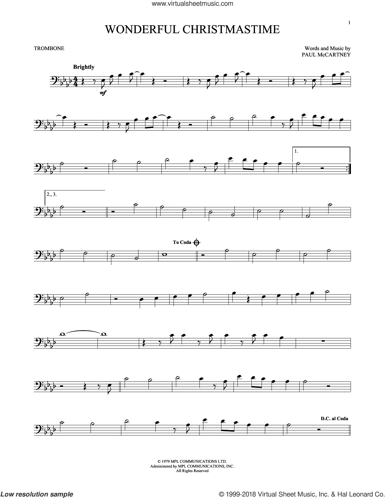 Wonderful Christmastime sheet music for trombone solo by Paul McCartney, Eli Young Band and Straight No Chaser featuring Paul McCartney, intermediate skill level