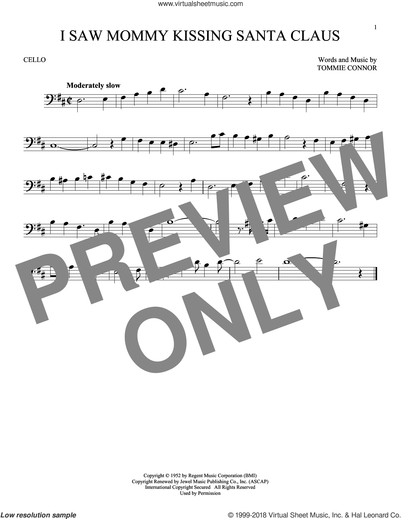 I Saw Mommy Kissing Santa Claus sheet music for cello solo by Tommie Connor, intermediate skill level