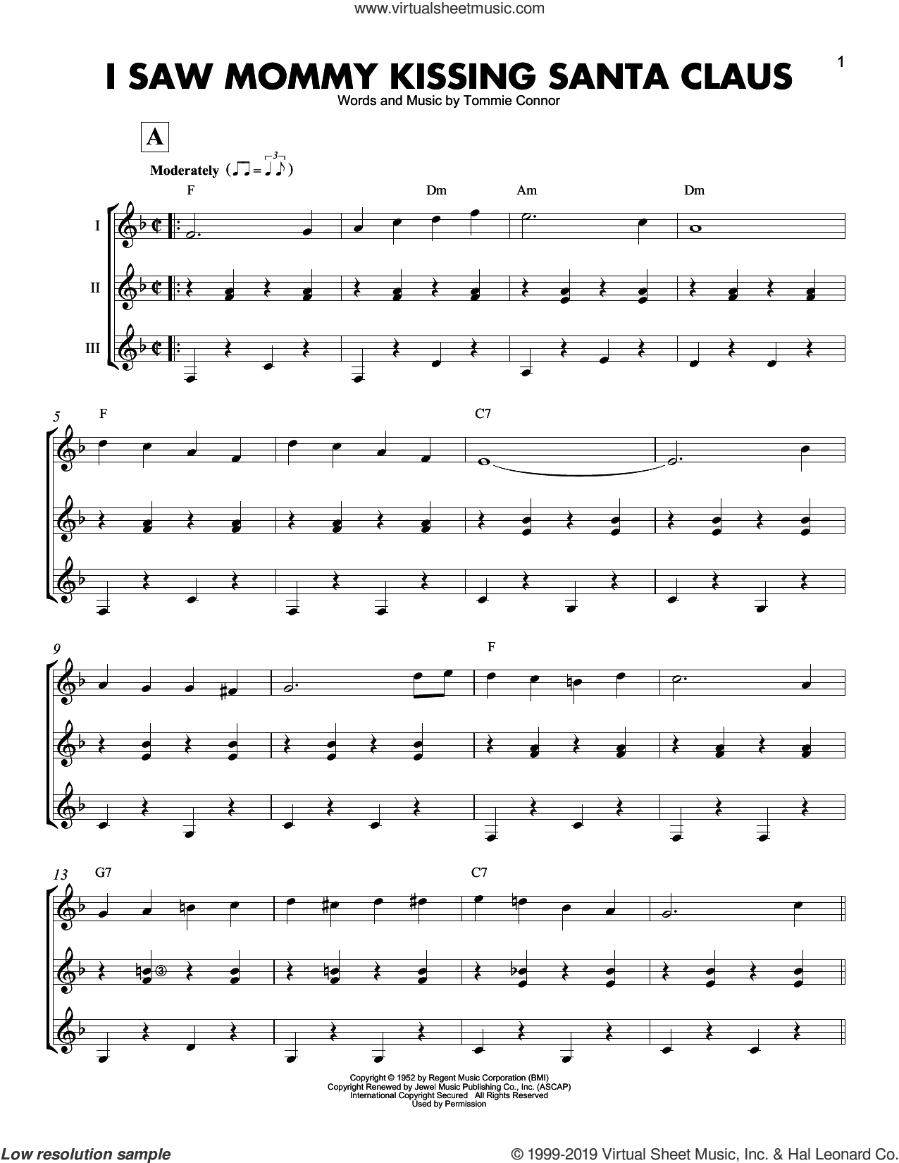I Saw Mommy Kissing Santa Claus sheet music for guitar ensemble by Tommie Connor, intermediate skill level
