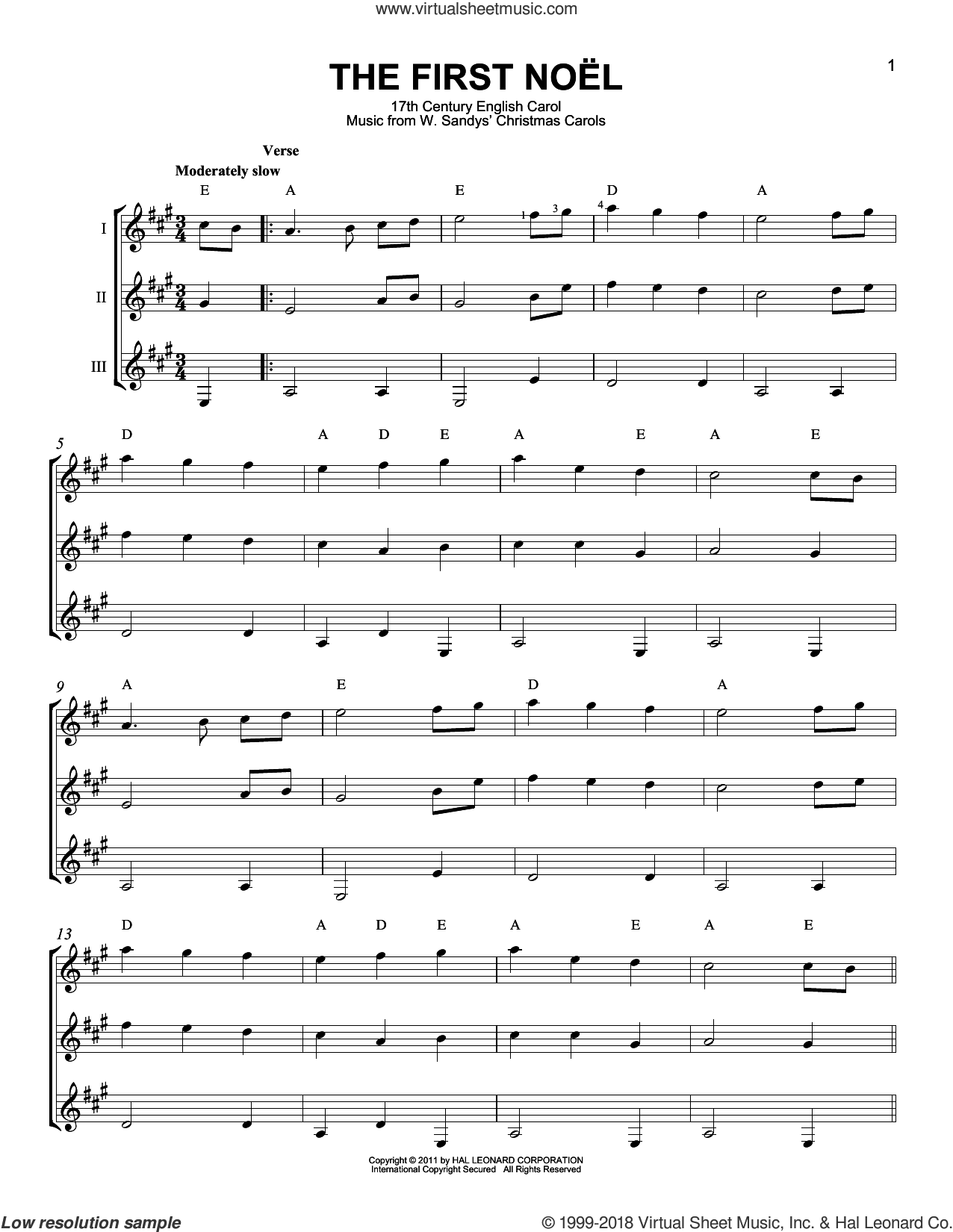 The First Noel sheet music for guitar ensemble by W. Sandys' Christmas Carols and Miscellaneous, intermediate skill level