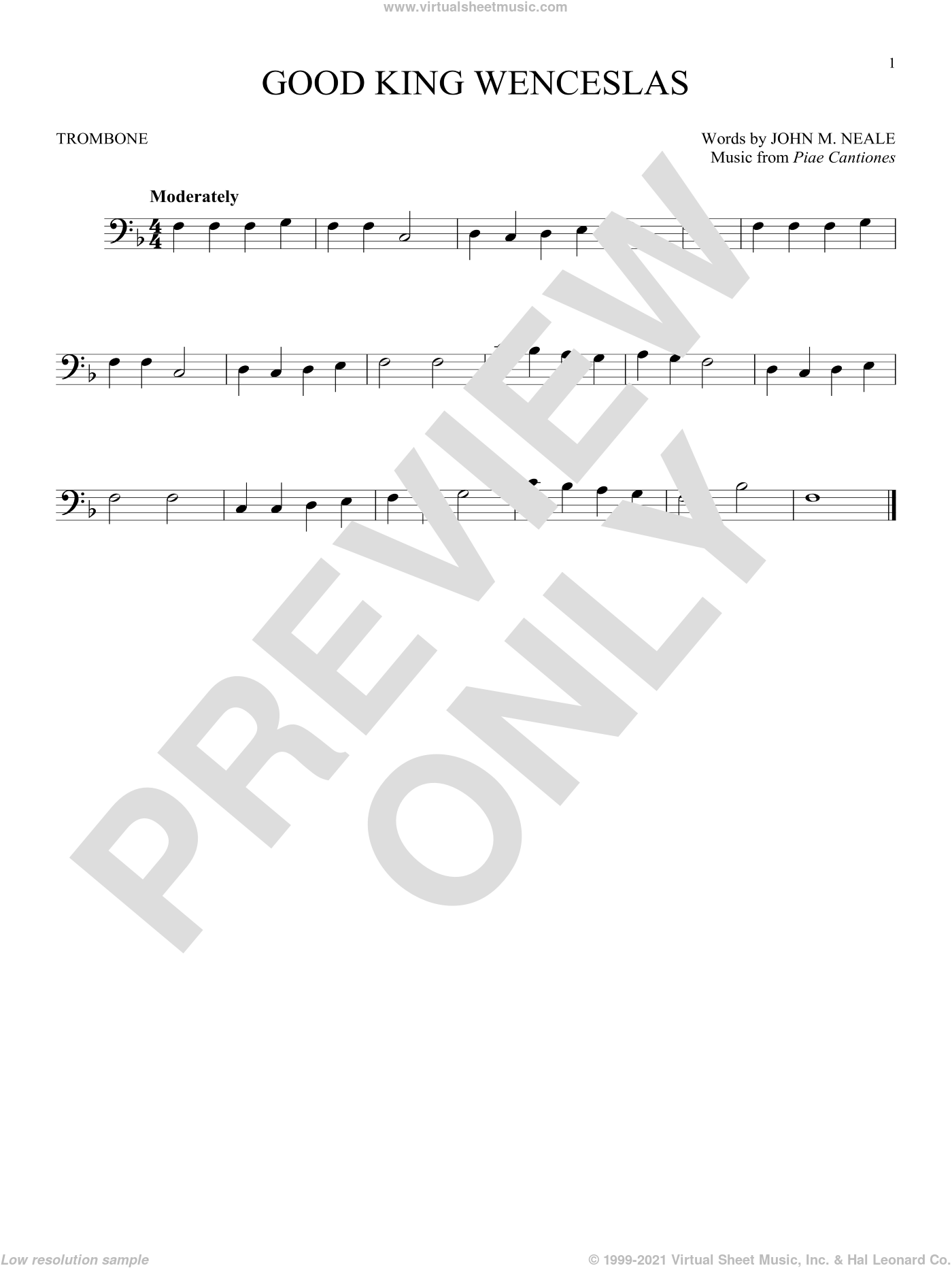 Good King Wenceslas sheet music for trombone solo by Piae Cantiones and John Mason Neale. Score Image Preview.
