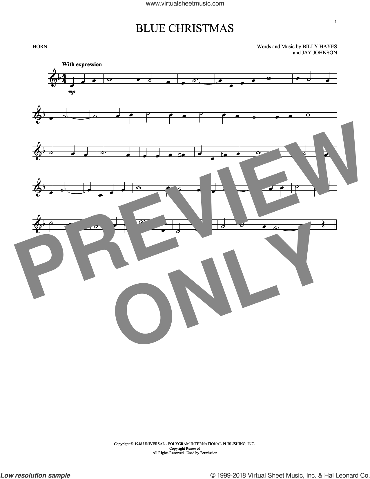 Blue Christmas sheet music for horn solo by Billy Hayes and Elvis Presley. Score Image Preview.