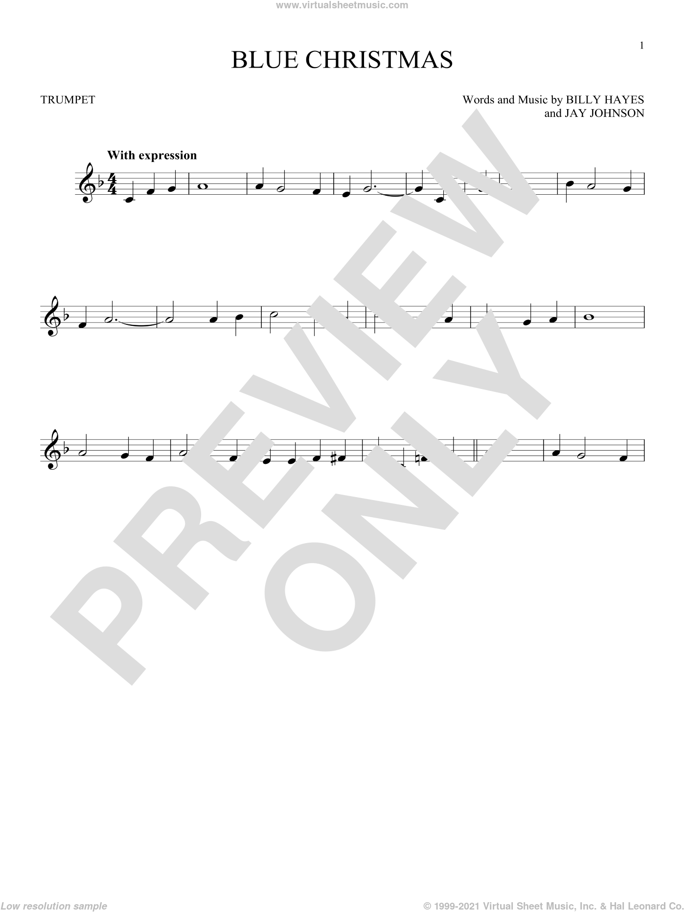 Blue Christmas sheet music for trumpet solo by Elvis Presley, Browns and Billy Hayes, intermediate skill level